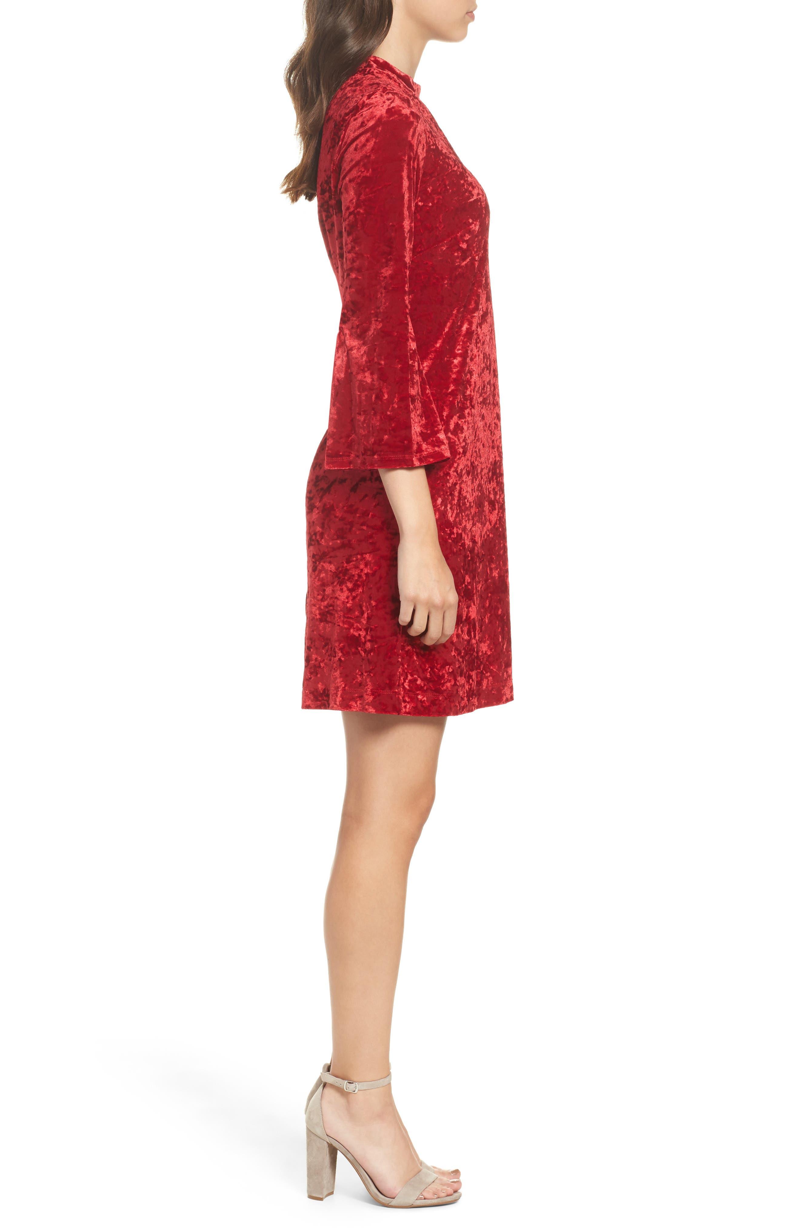 Crushed Velvet Choker Dress,                             Alternate thumbnail 3, color,                             Red