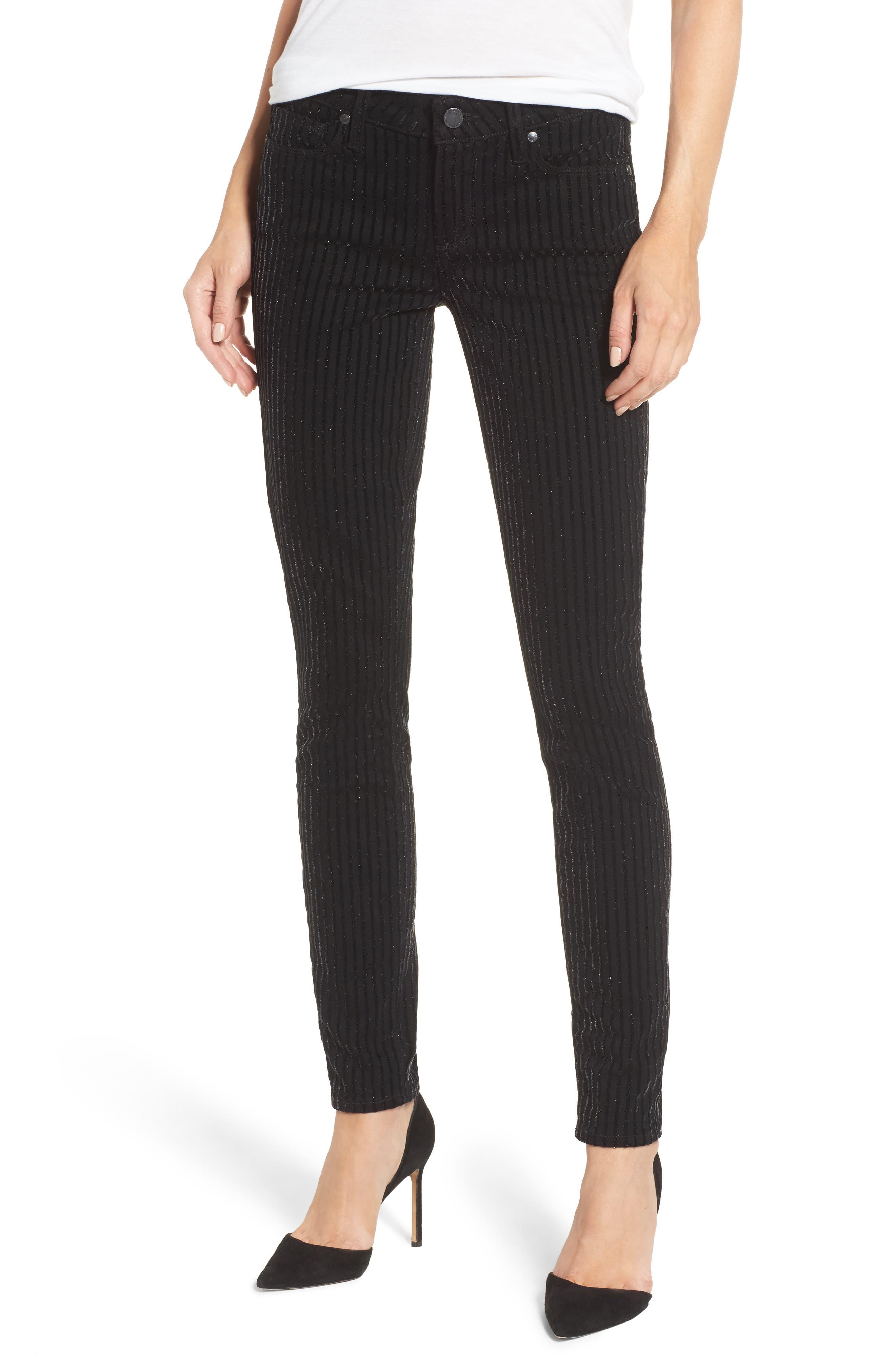 Alternate Image 1 Selected - PAIGE Verdugo Ultra Skinny Jeans (Noir Flocked Stripe)