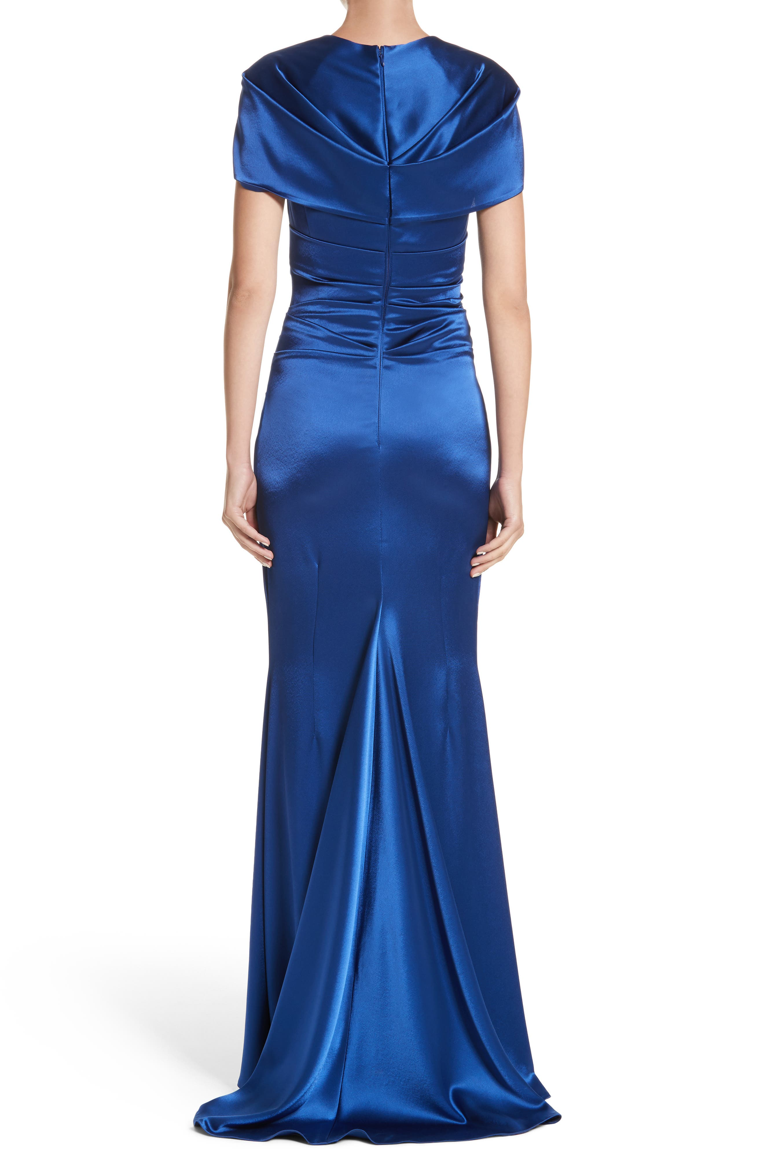 Pleated Satin Mermaid Gown,                             Alternate thumbnail 2, color,                             Enzian/ Royal