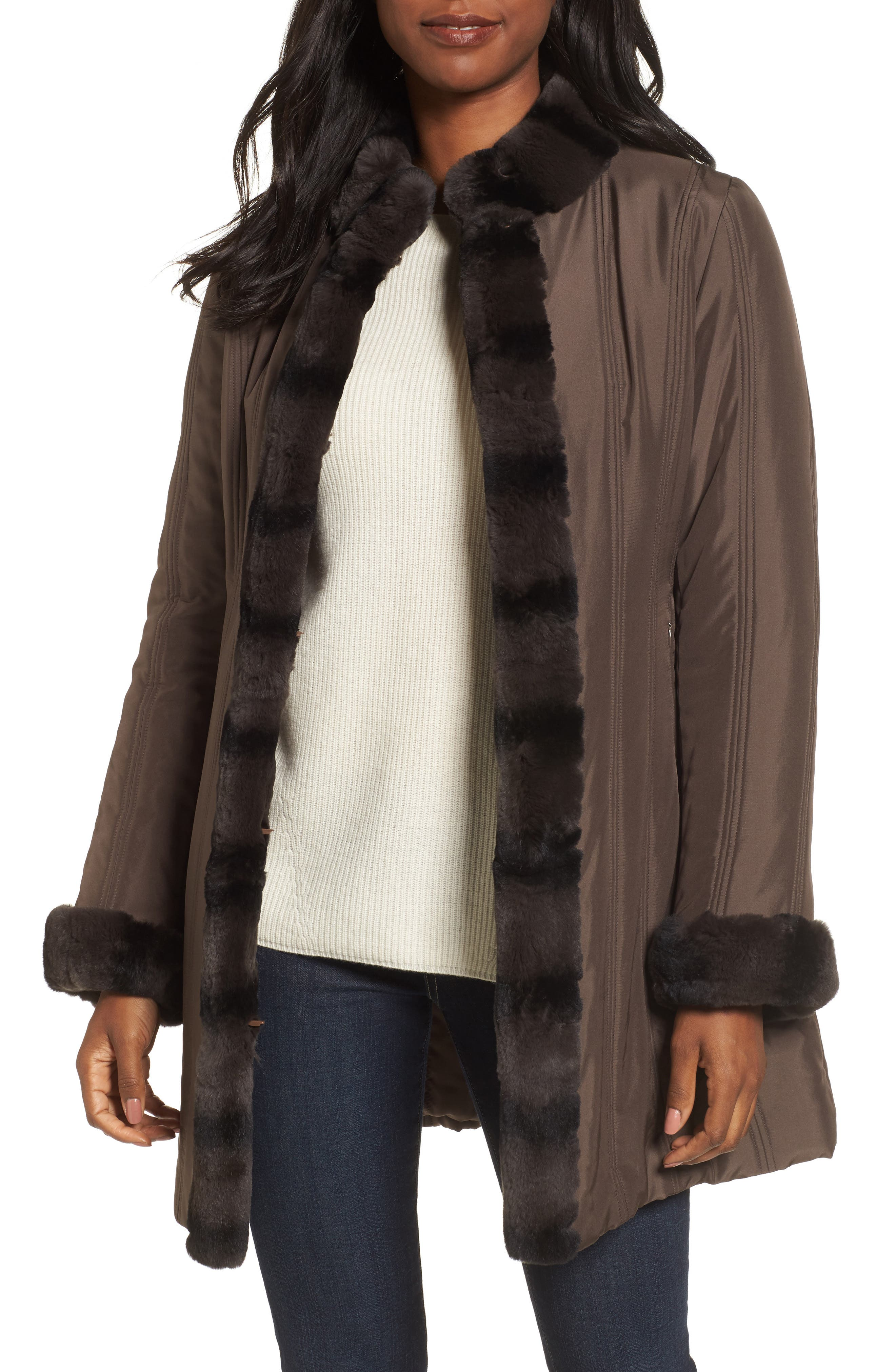 George Simonton Couture Packable Silk Coat with Genuine Rabbit Fur Trim