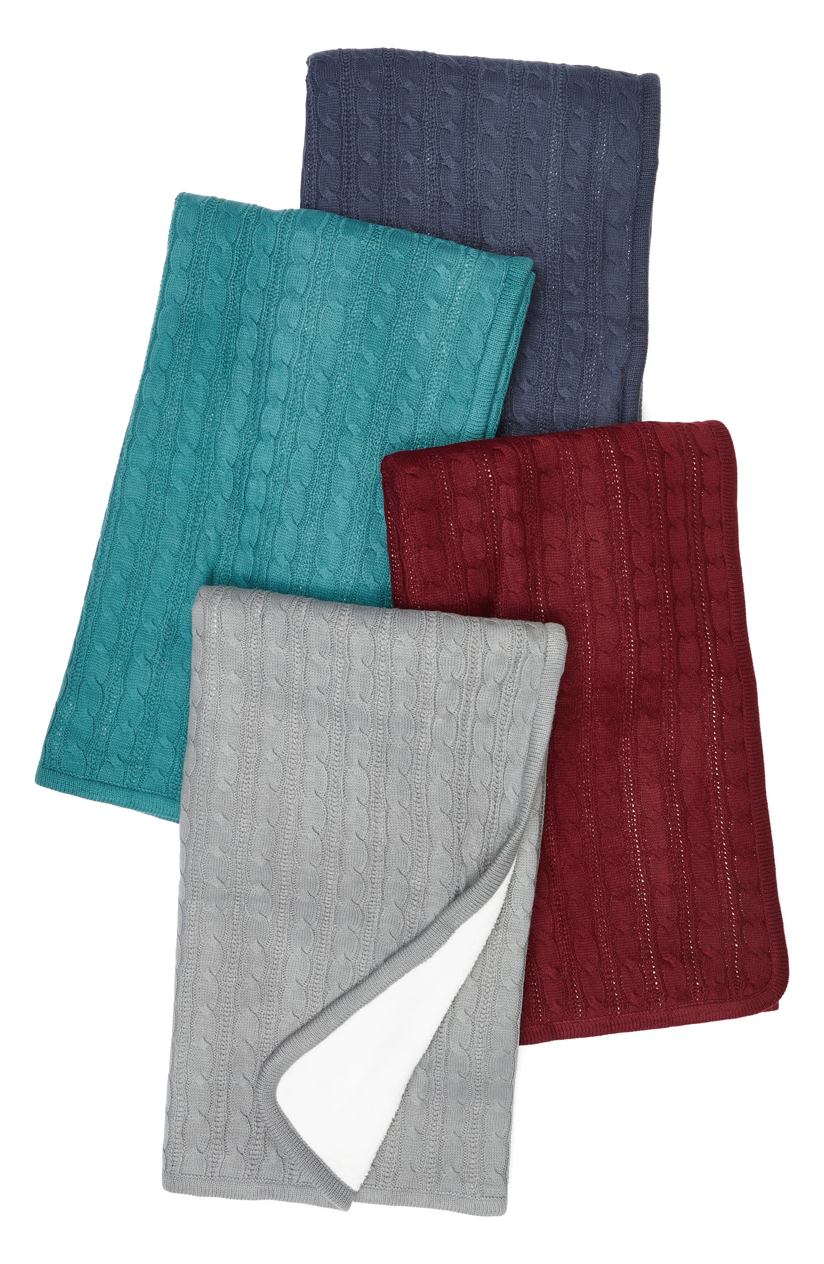 Cable Knit Throw Blanket,                             Alternate thumbnail 3, color,