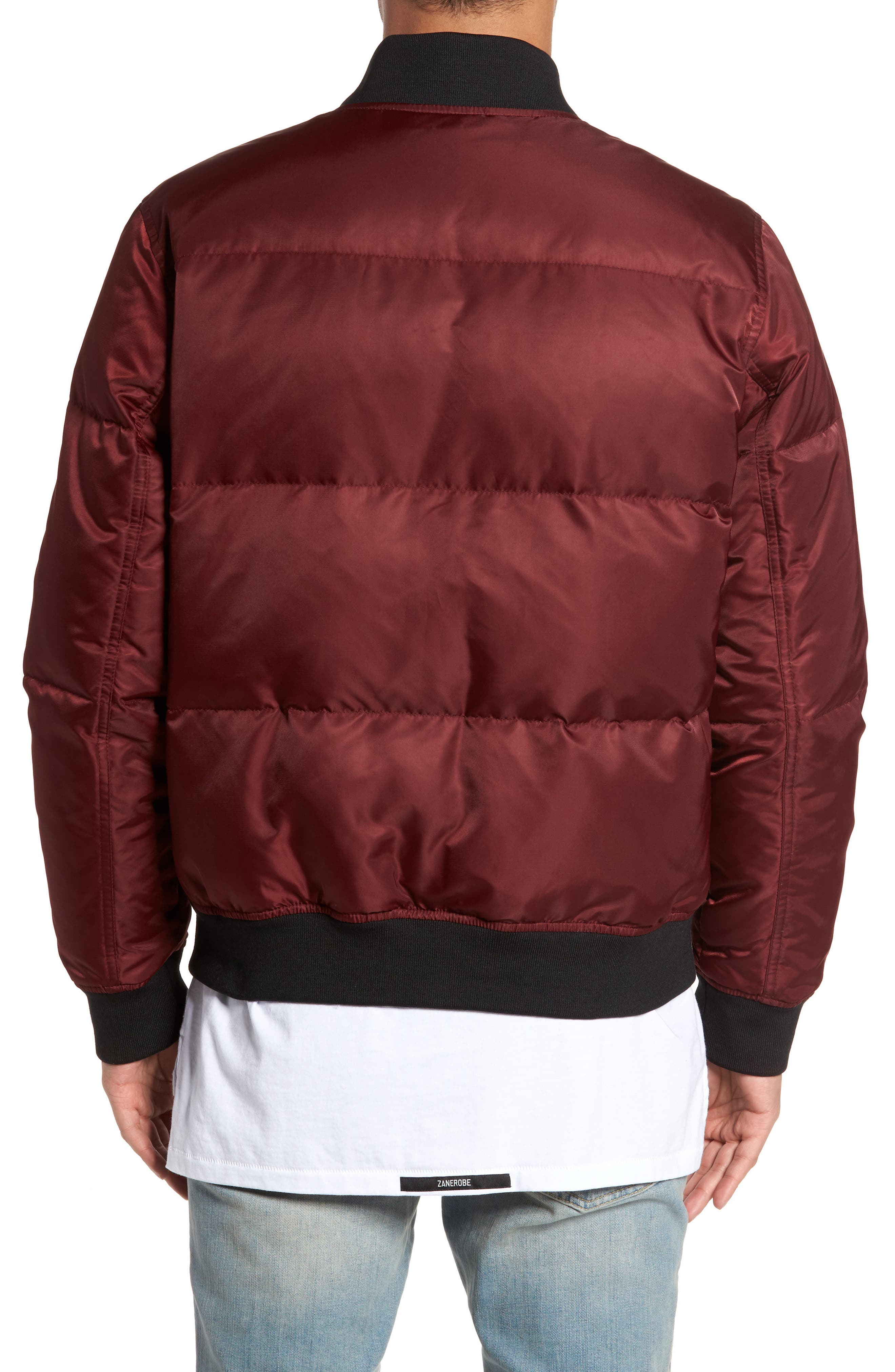 Quilted Down Bomber Jacket,                             Alternate thumbnail 2, color,                             Burgundy