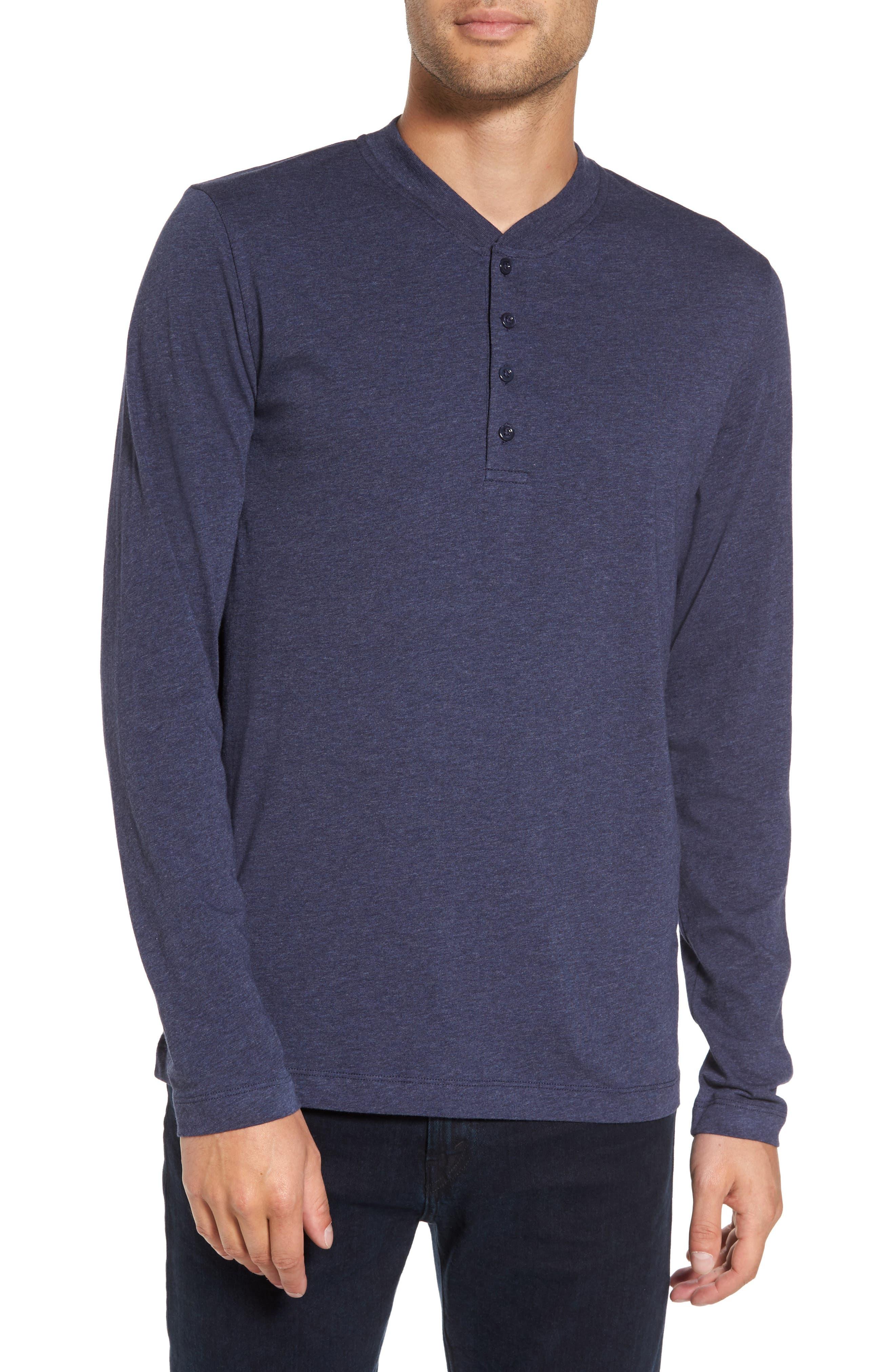 Long Sleeve Henley T-Shirt,                         Main,                         color, Heather Blue