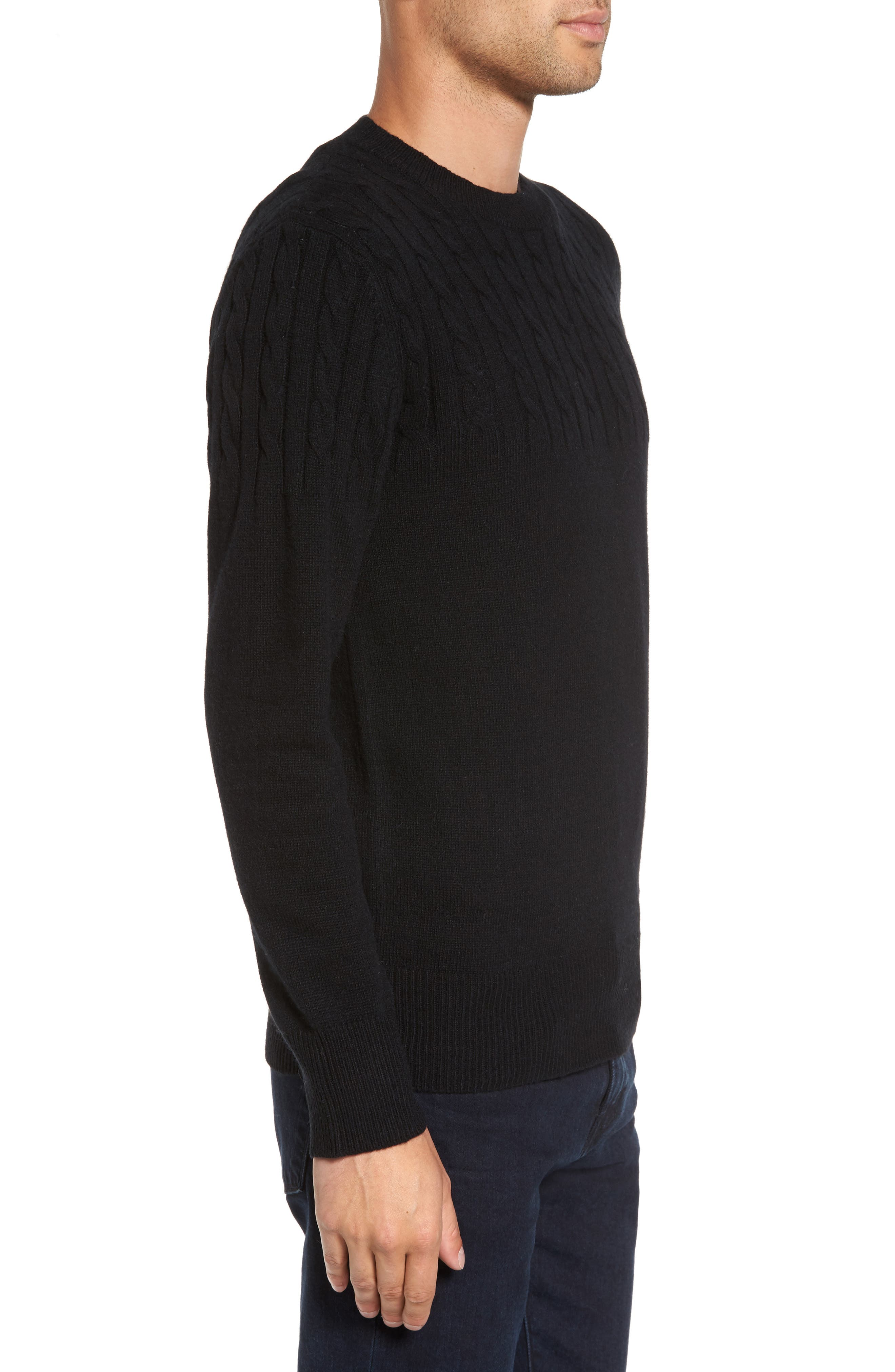 Wool Cable Knit Sweater,                             Alternate thumbnail 3, color,                             Black