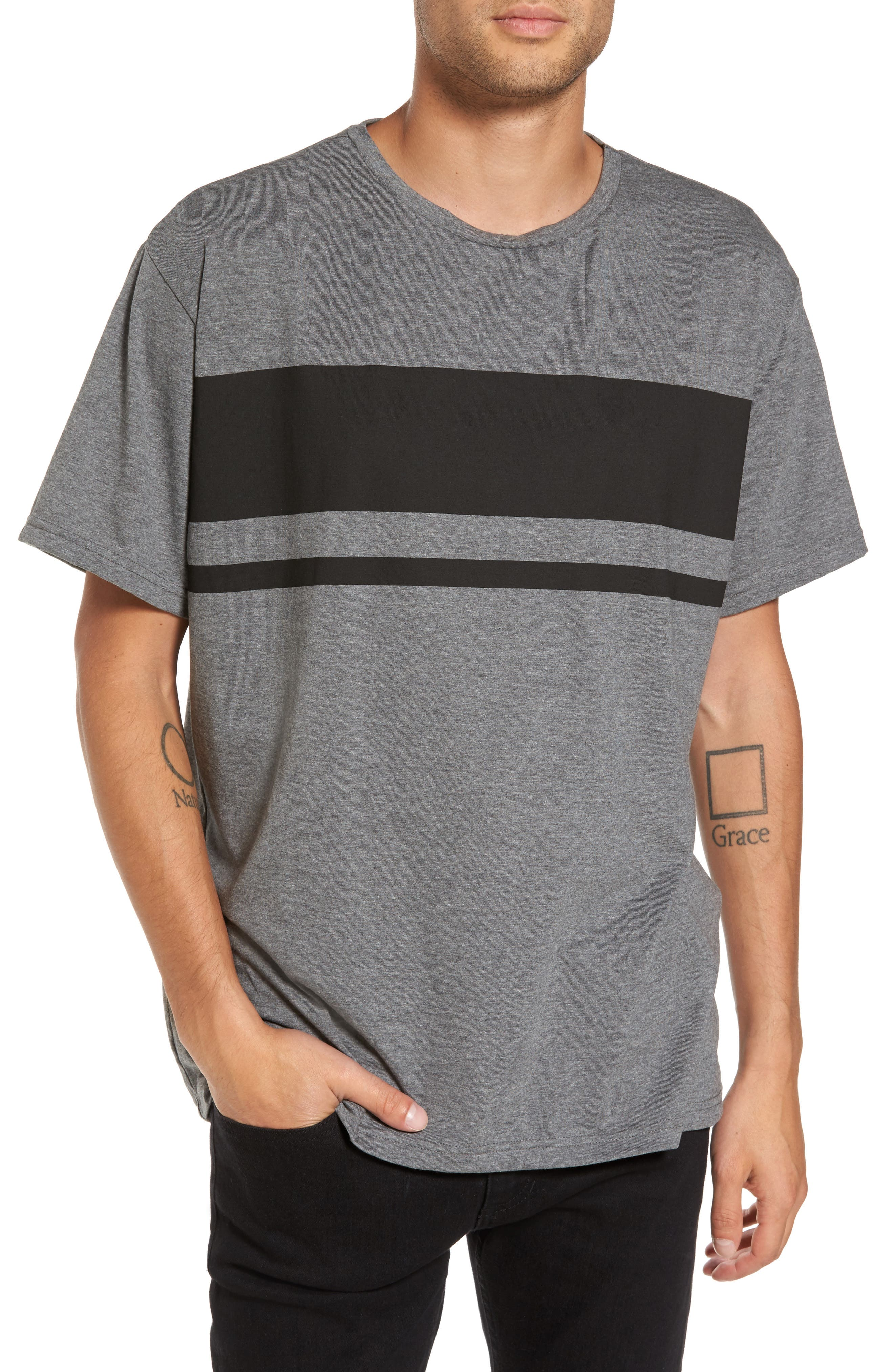 Russ Stripe T-Shirt,                             Main thumbnail 1, color,                             Grey Boom