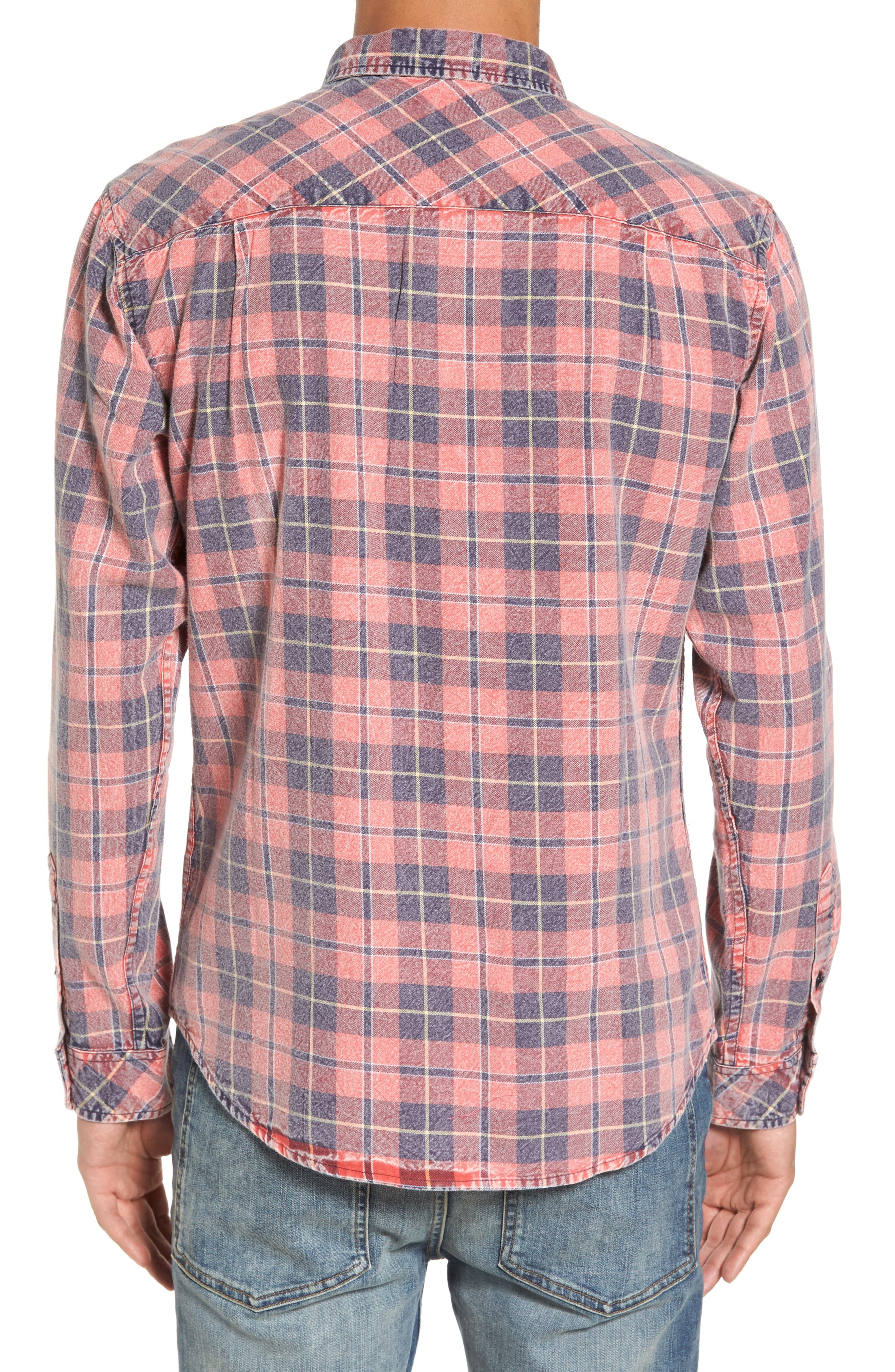 Greenwich Flannel Shirt,                             Alternate thumbnail 2, color,                             Faded Red