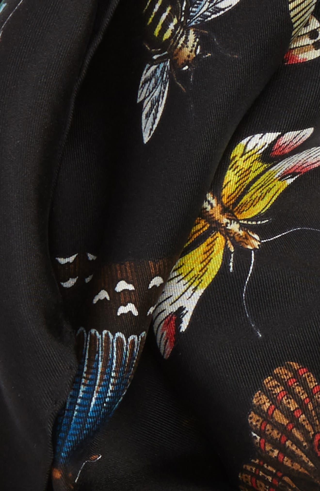 Butterflies Foulard Silk Scarf,                             Alternate thumbnail 3, color,                             Black