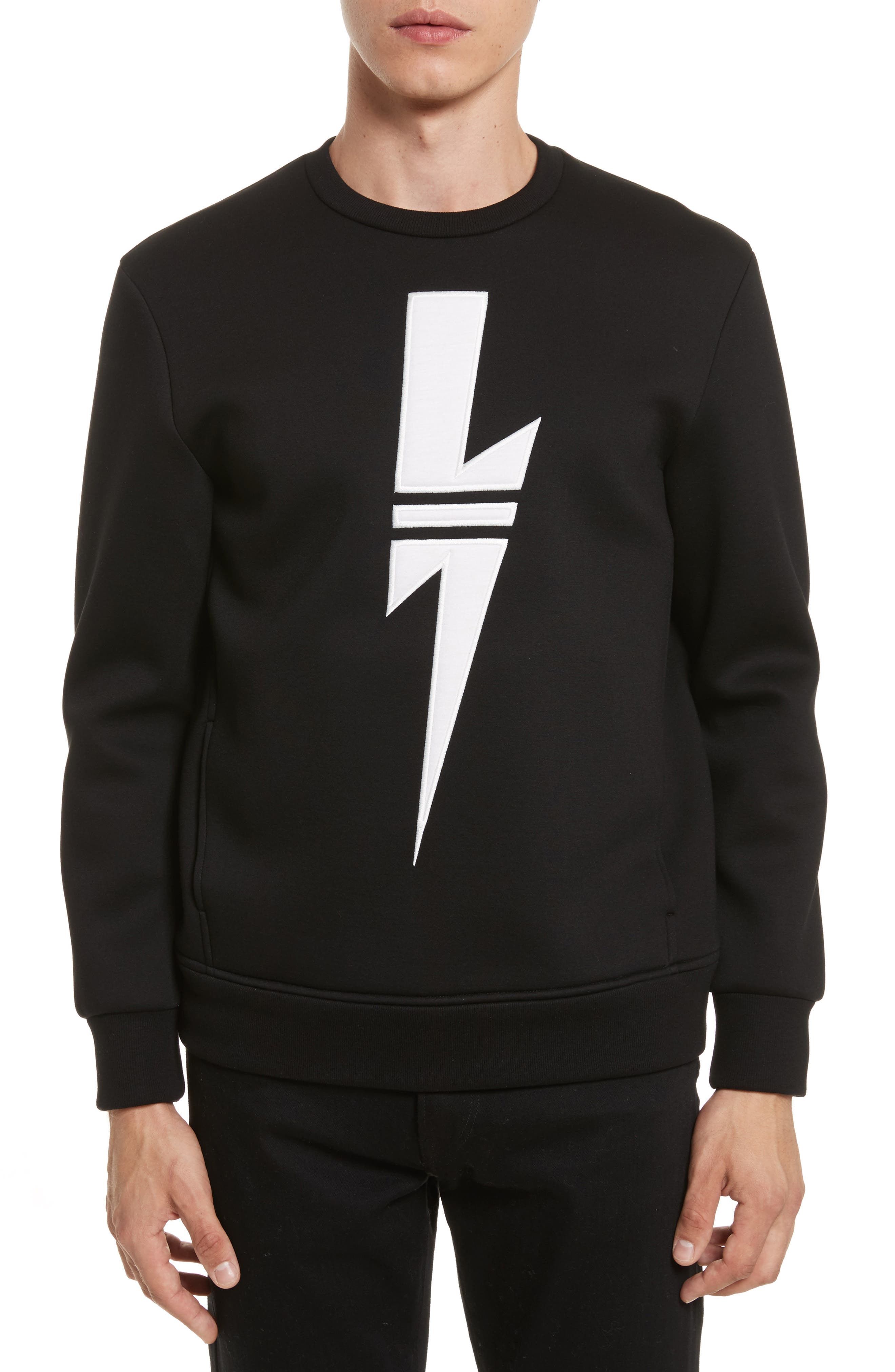 New Thunderbolt Sweatshirt,                         Main,                         color, Black/ Off White
