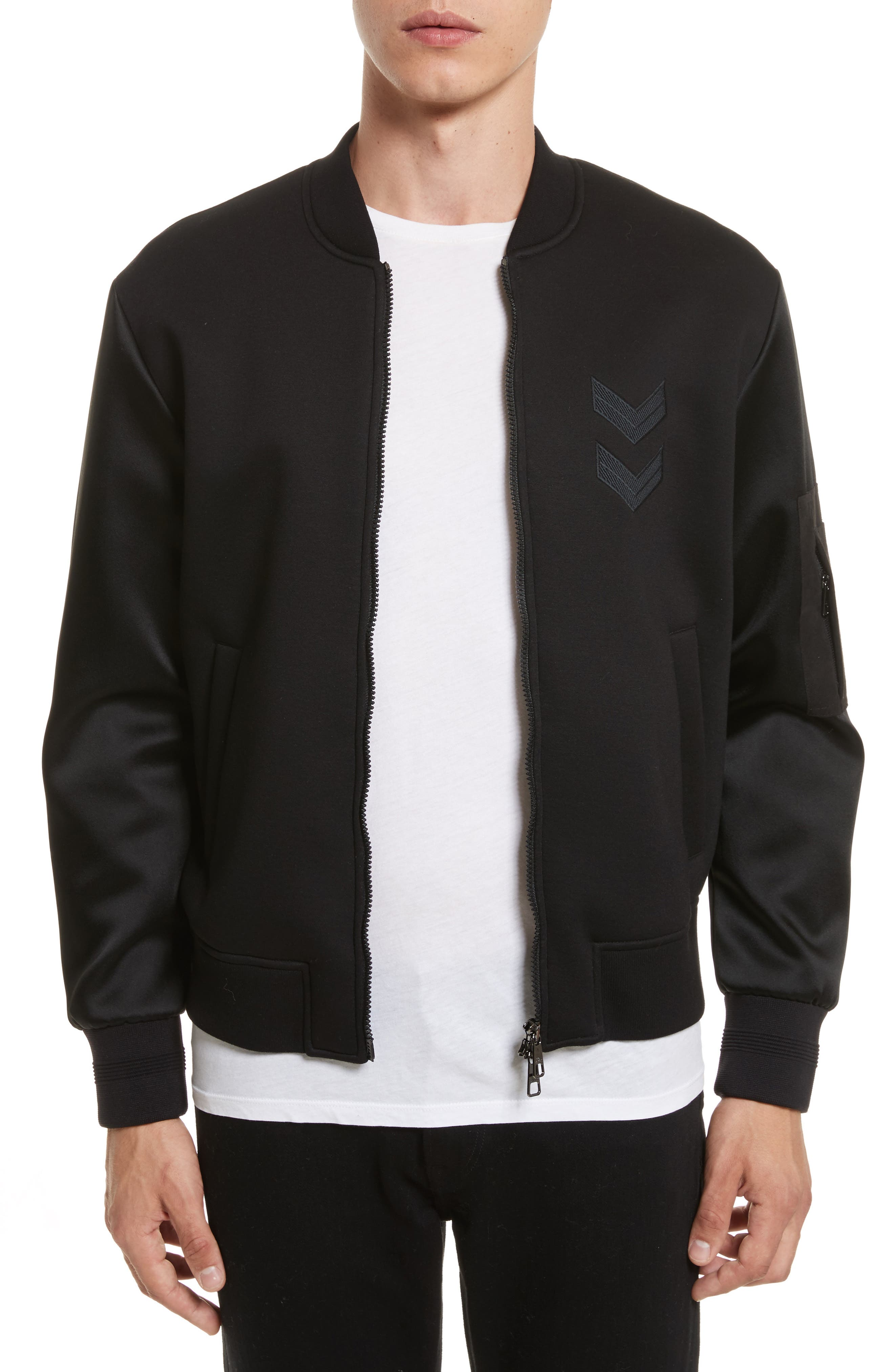 Satin Sleeve Bomber Jacket,                         Main,                         color, Black