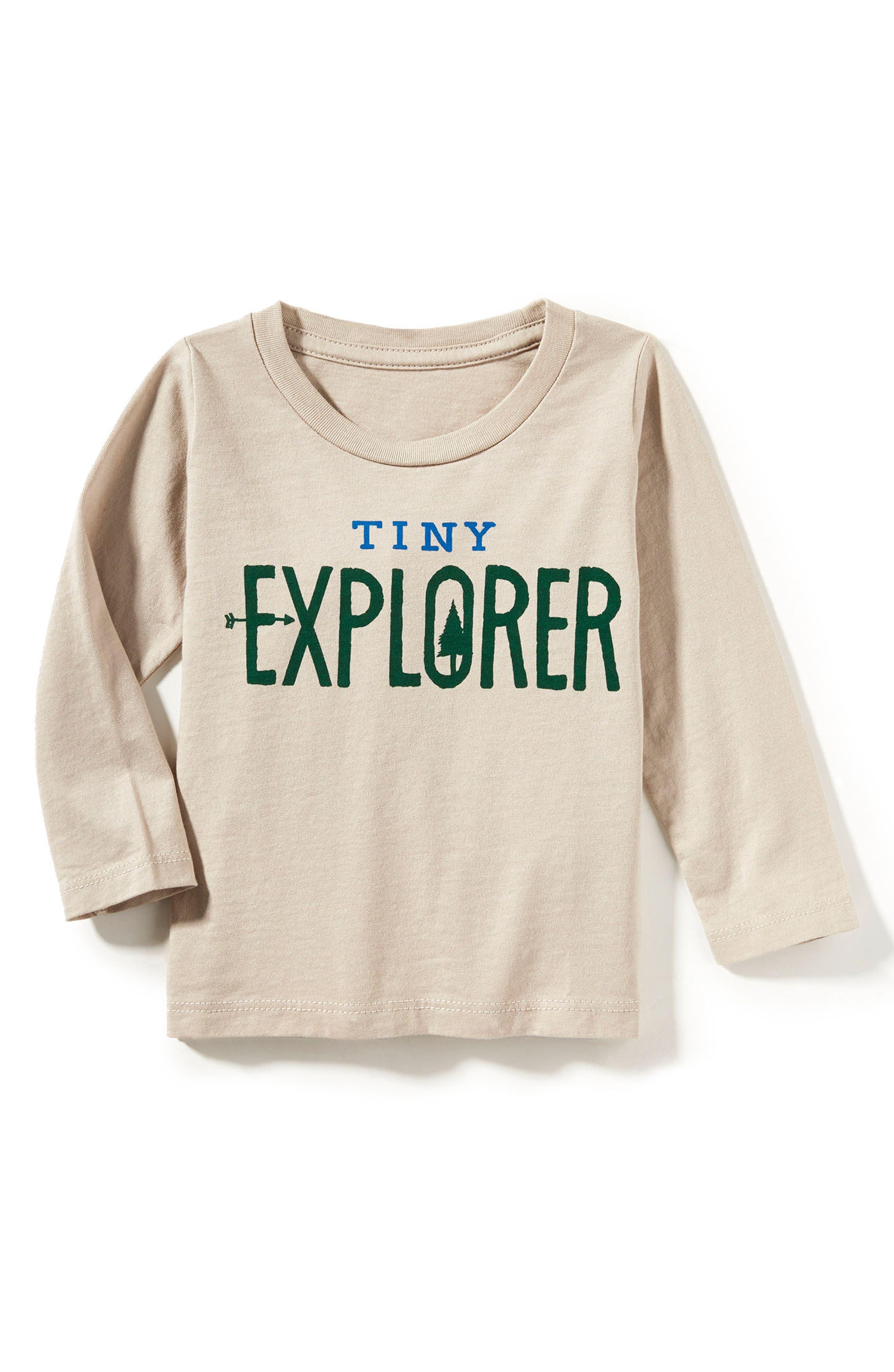 Peek Tiny Explorer T-Shirt,                             Main thumbnail 1, color,                             Stone