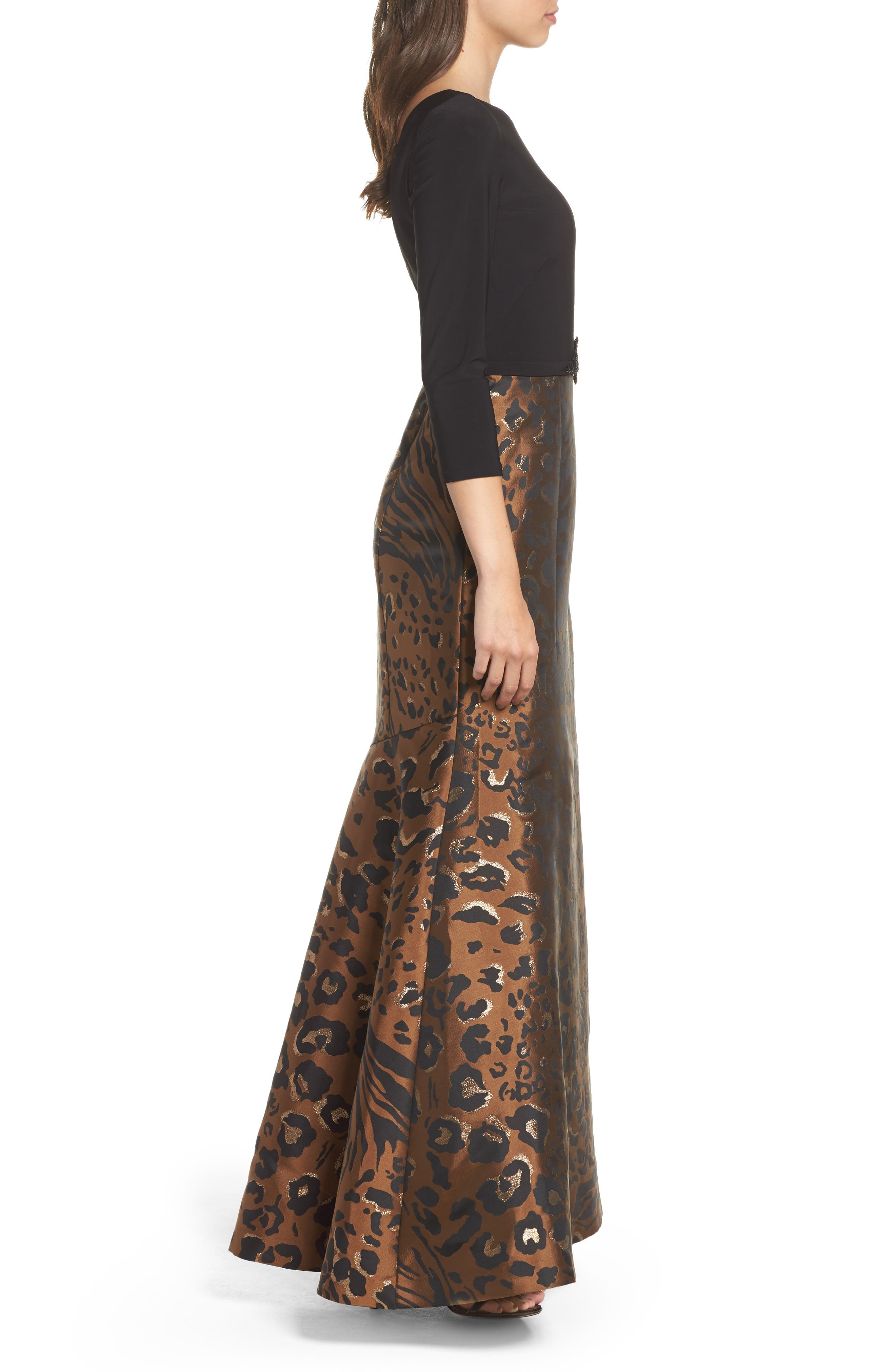 Embellished Mixed Media Trumpet Gown,                             Alternate thumbnail 3, color,                             Black Tan