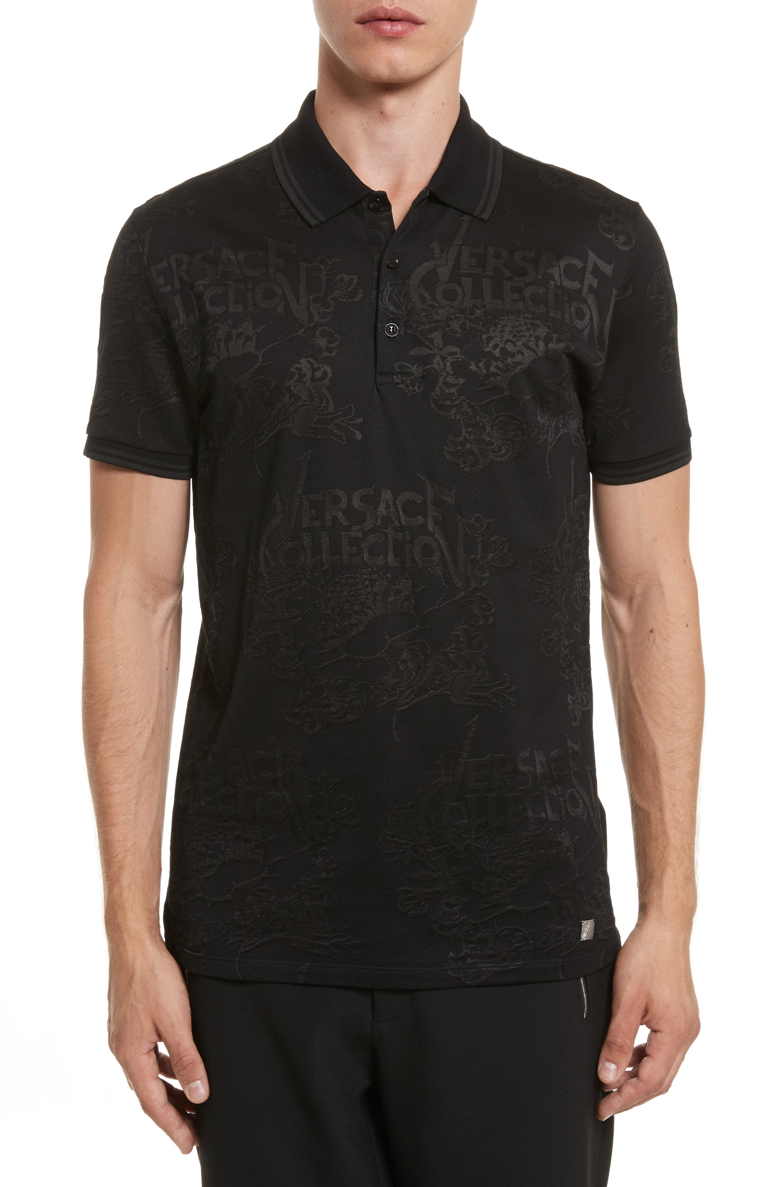 Tonal Jacquard Polo,                         Main,                         color, Black
