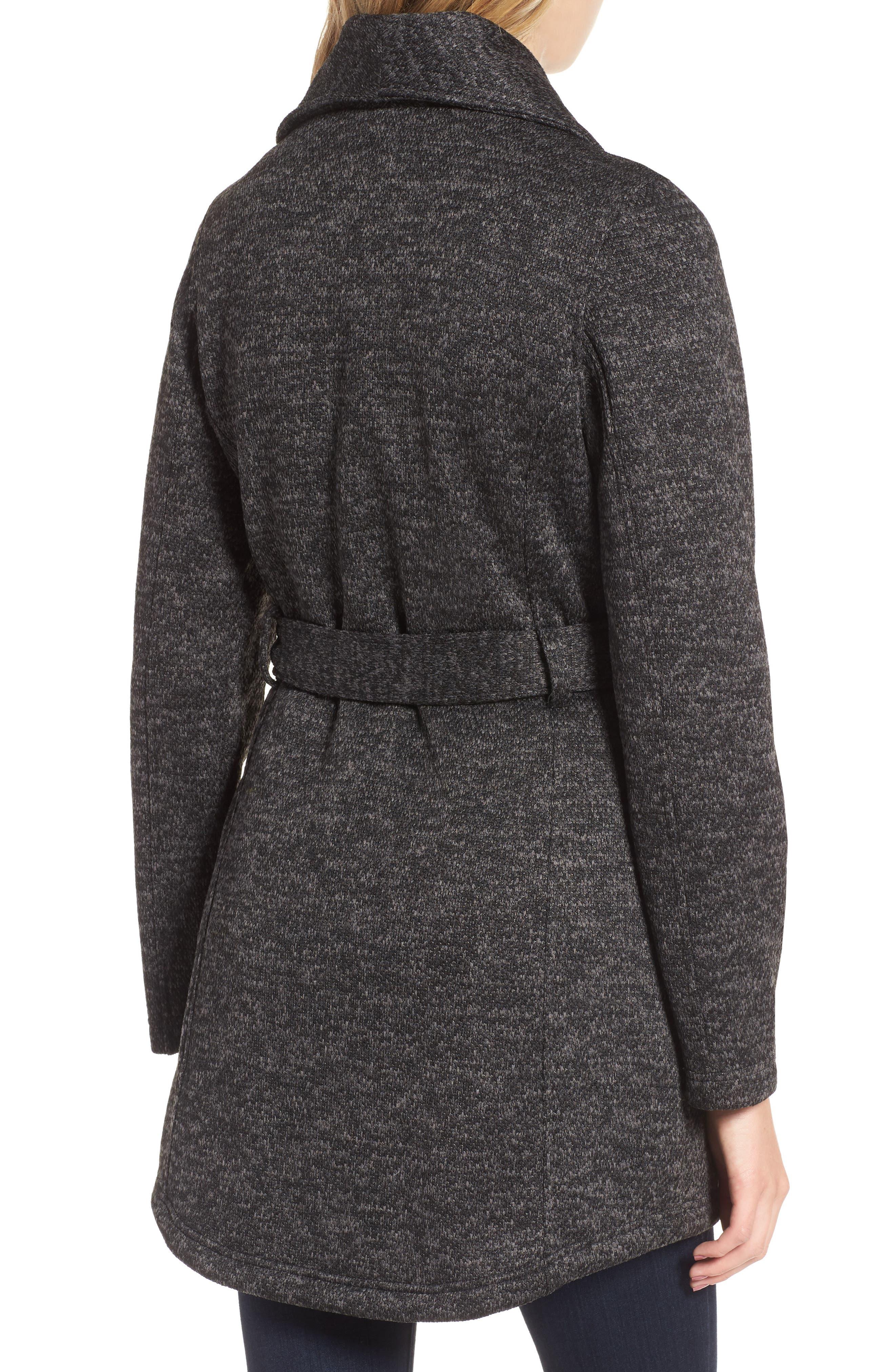 Fleece Wrap Coat,                             Alternate thumbnail 2, color,                             Charcoal Heather