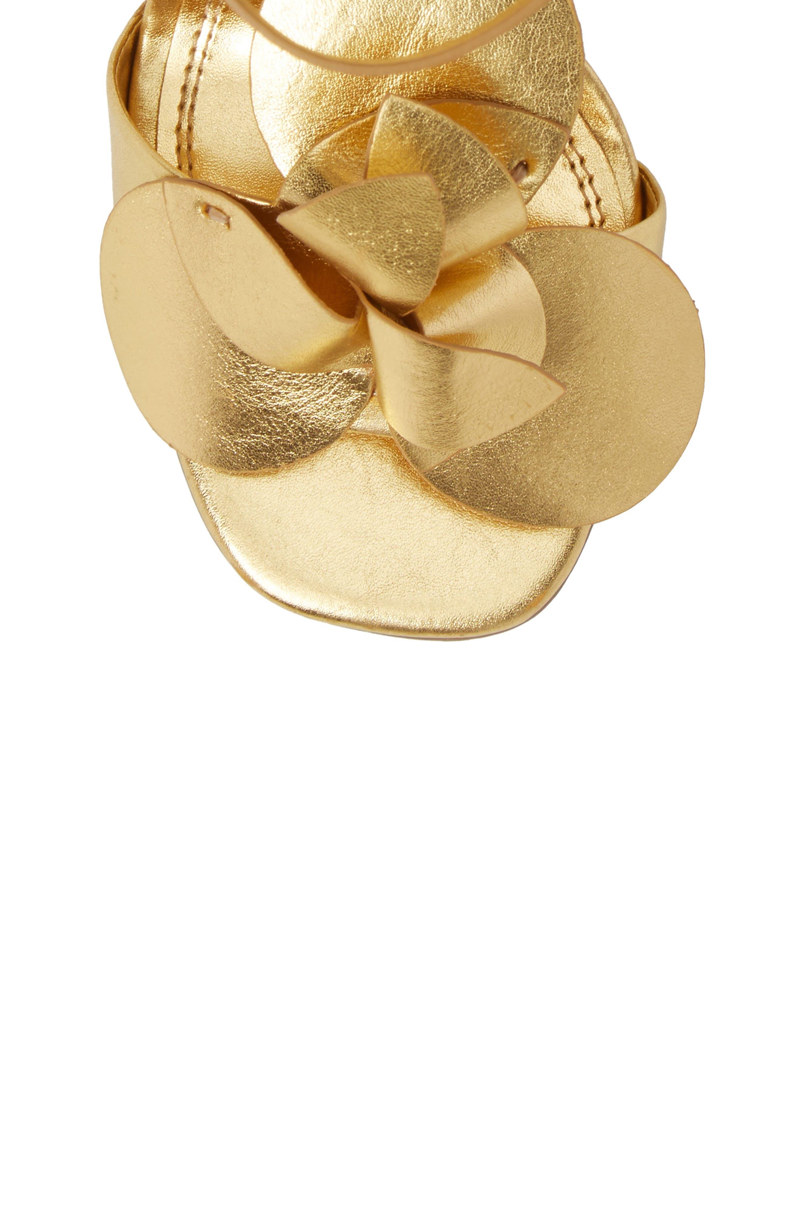 Tealia Sandal,                             Alternate thumbnail 6, color,                             Gold Leather