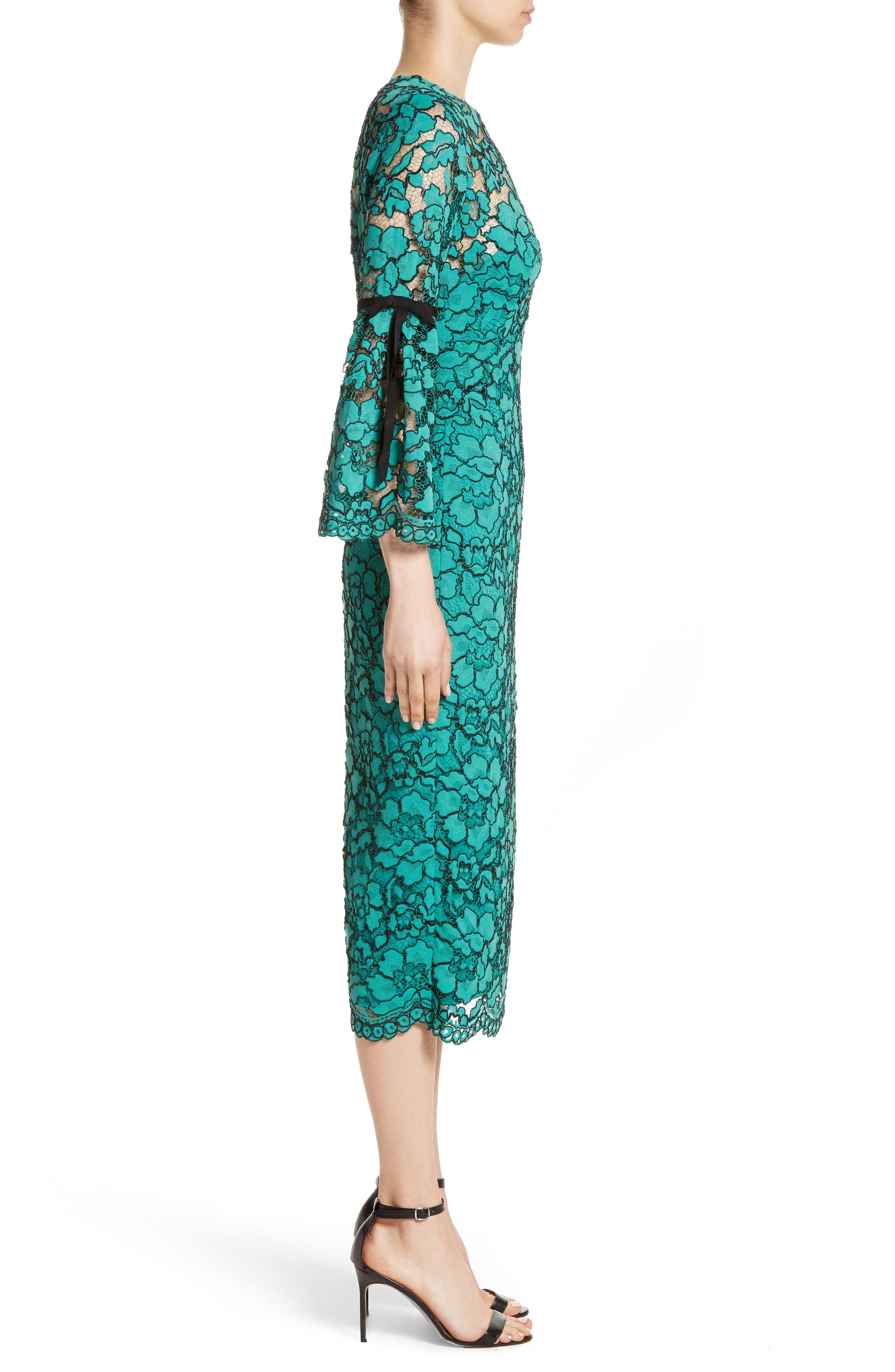 Lace Bell Sleeve Sheath Dress,                             Alternate thumbnail 4, color,                             Jade