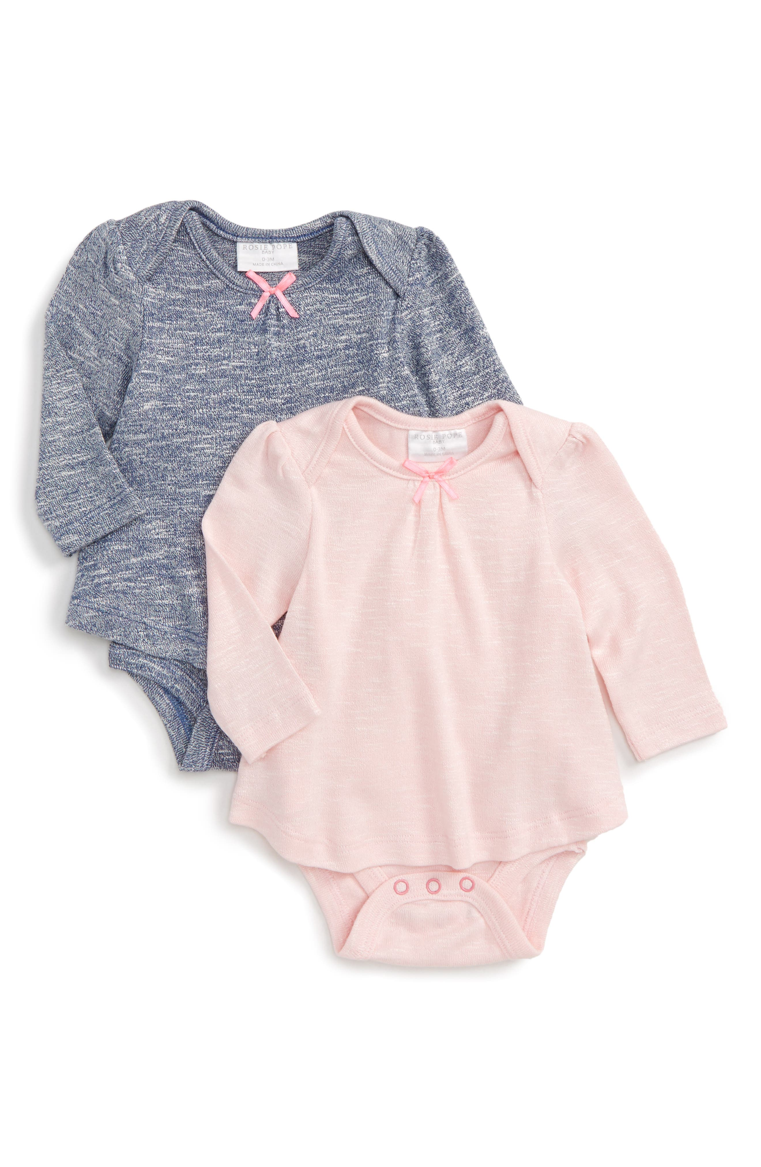 2-Pack Knit Bodysuits,                         Main,                         color, Navy