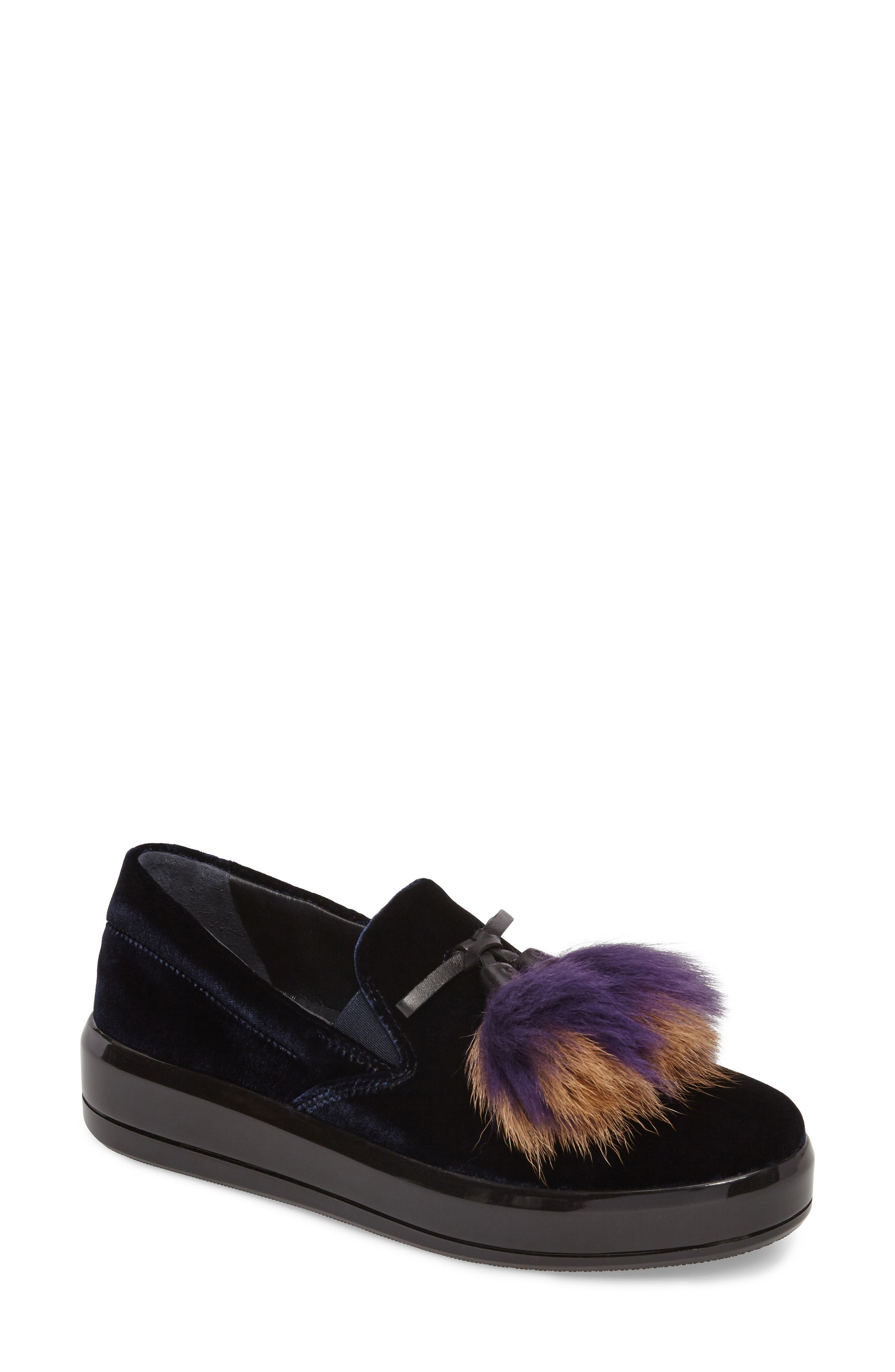 Prada Genuine Shearling Tassel Slip-On Sneaker (Women)