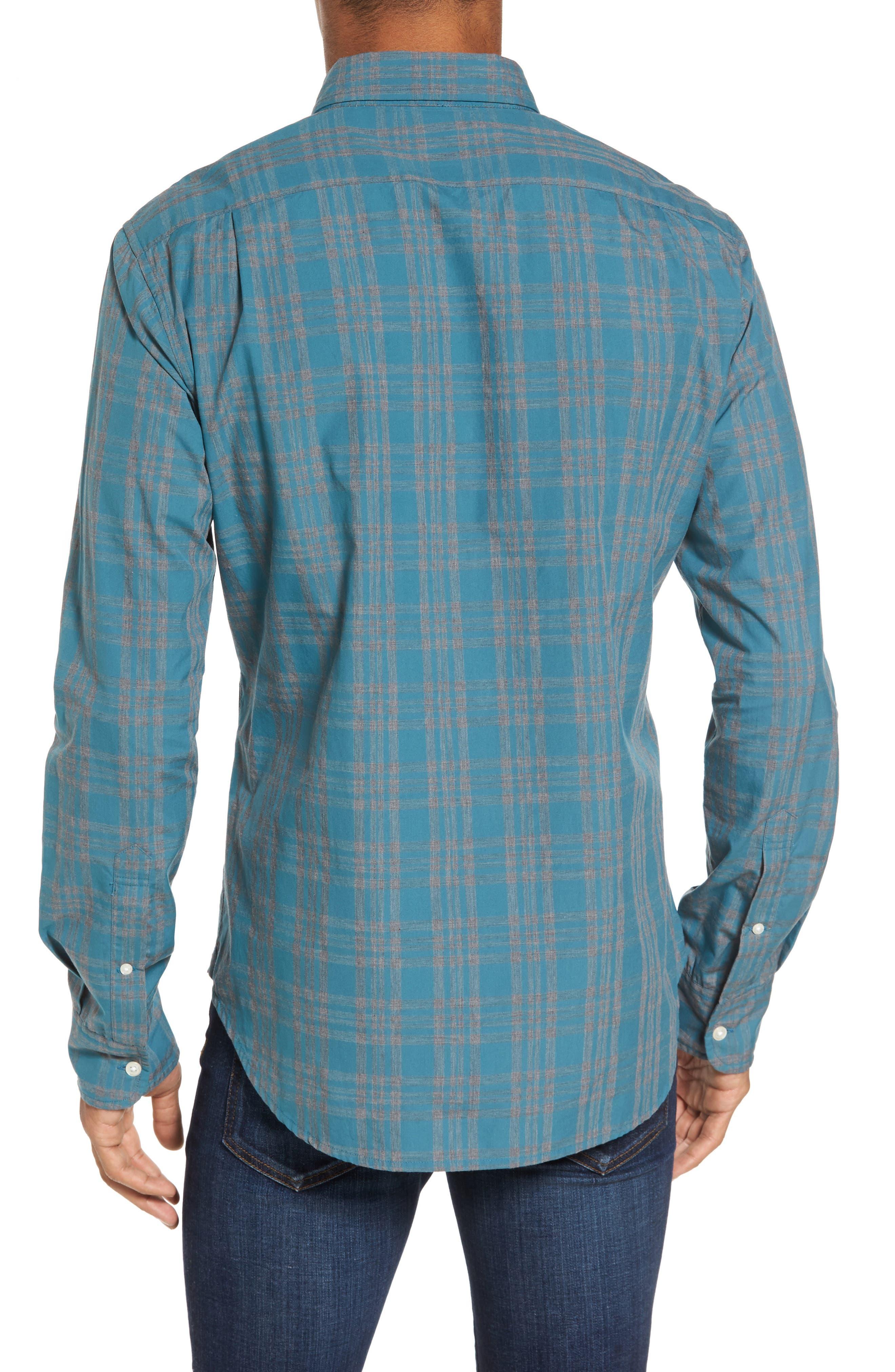Slim Fit Check Sport Shirt,                             Alternate thumbnail 2, color,                             Ace Green Check