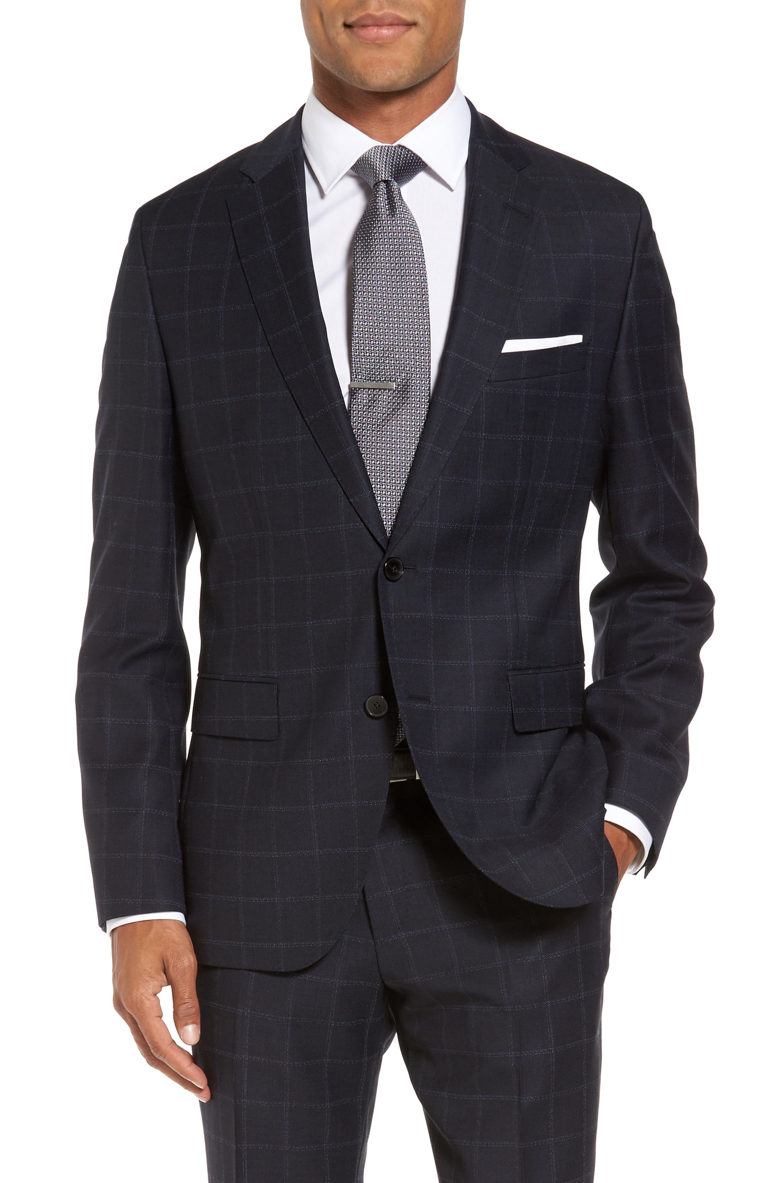 Johnstons/Lenon Classic Fit Windowpane Wool Suit,                             Alternate thumbnail 4, color,                             Navy