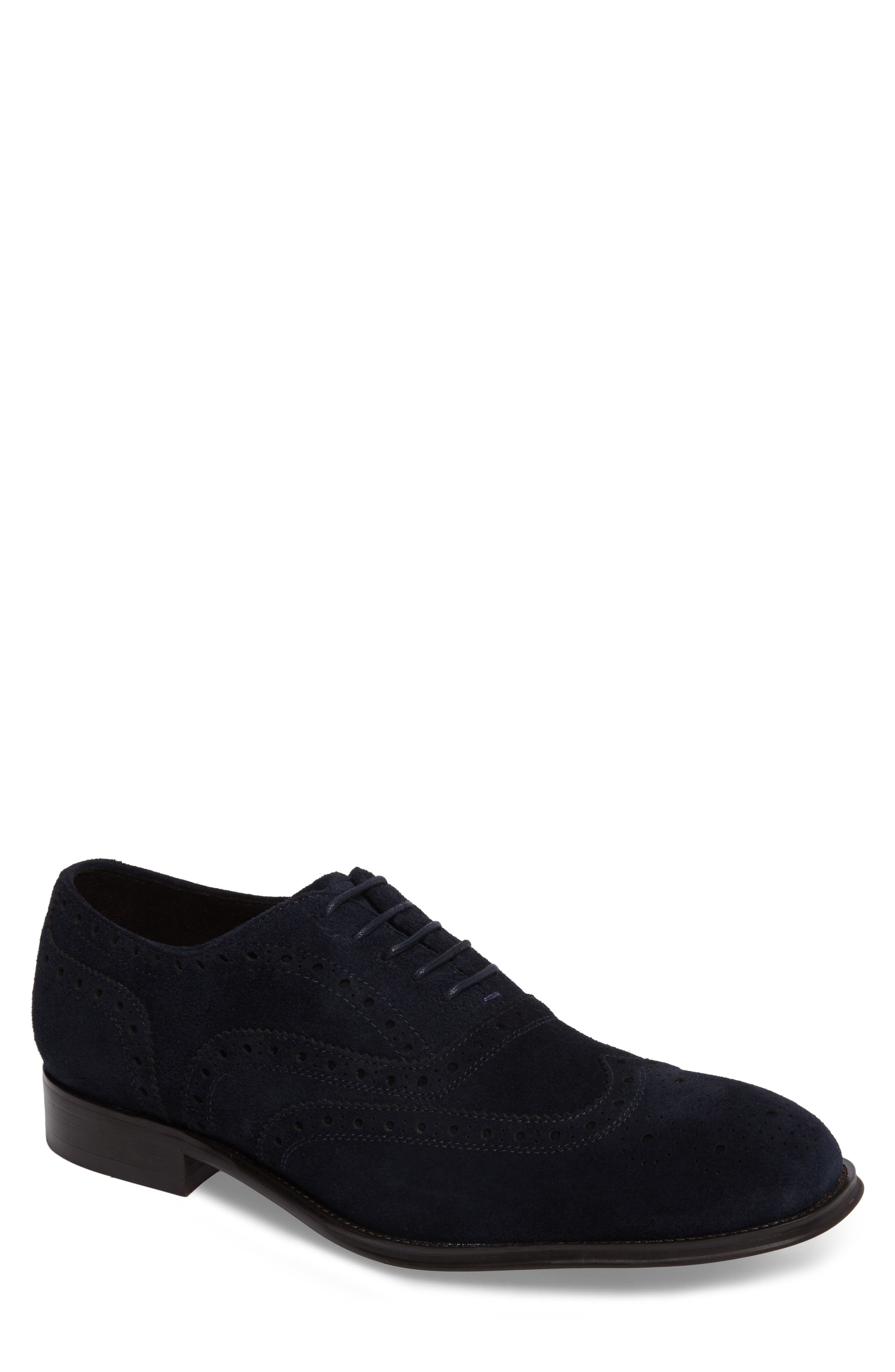 Wingtip,                             Main thumbnail 1, color,                             Midnight Navy Leather