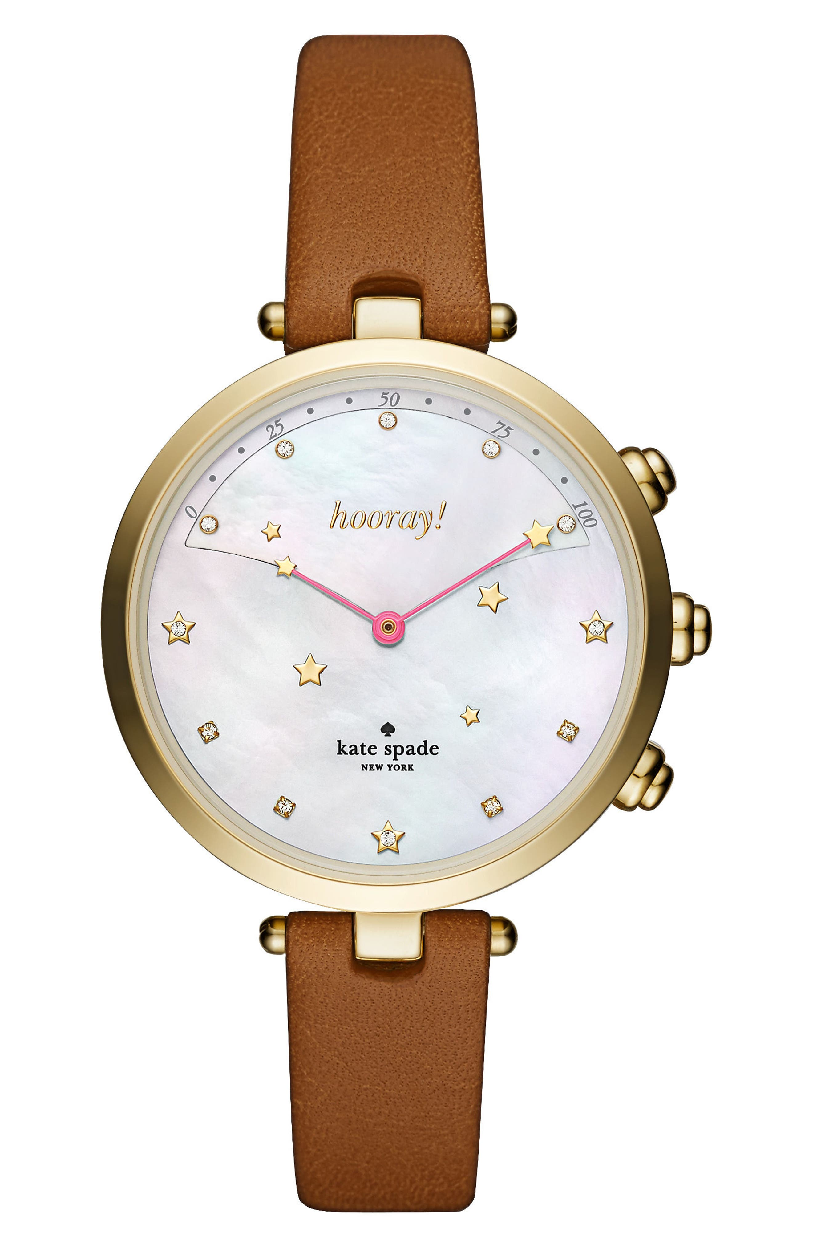 Alternate Image 1 Selected - kate spade new york holland hybrid leather strap watch, 37mm