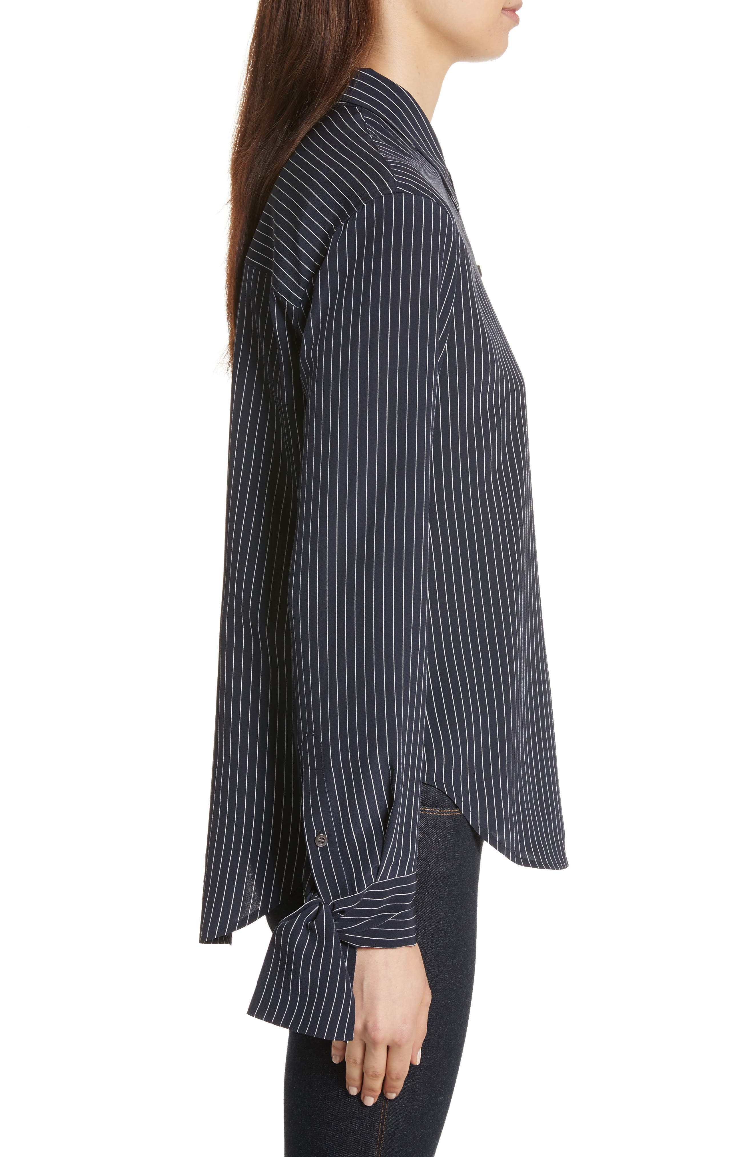 Tie Cuff Pinstripe Silk Blouse,                             Alternate thumbnail 3, color,                             Deep Navy/ Ivory