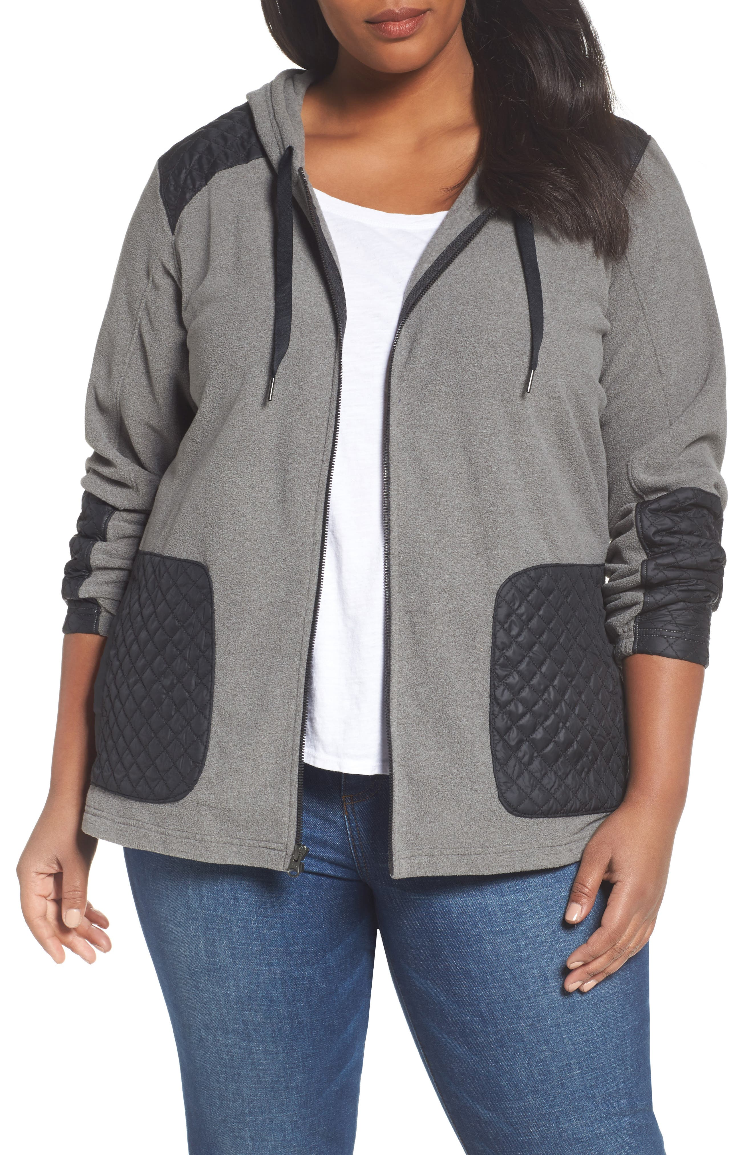 Alternate Image 1 Selected - Columbia Warm Up Hooded Fleece Jacket (Plus Size)