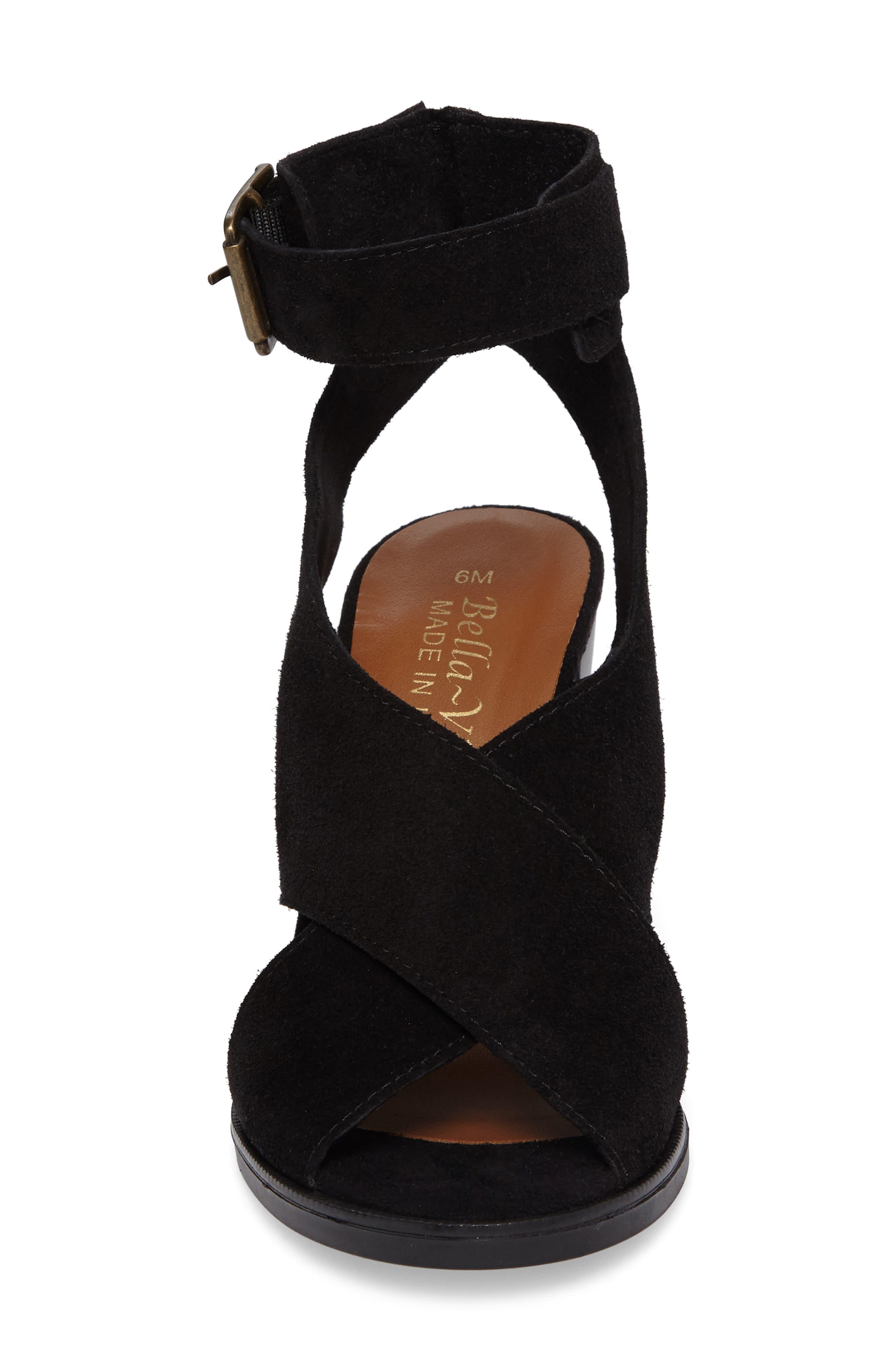 Lil Ankle Wrap Sandal,                             Alternate thumbnail 4, color,                             Black Suede