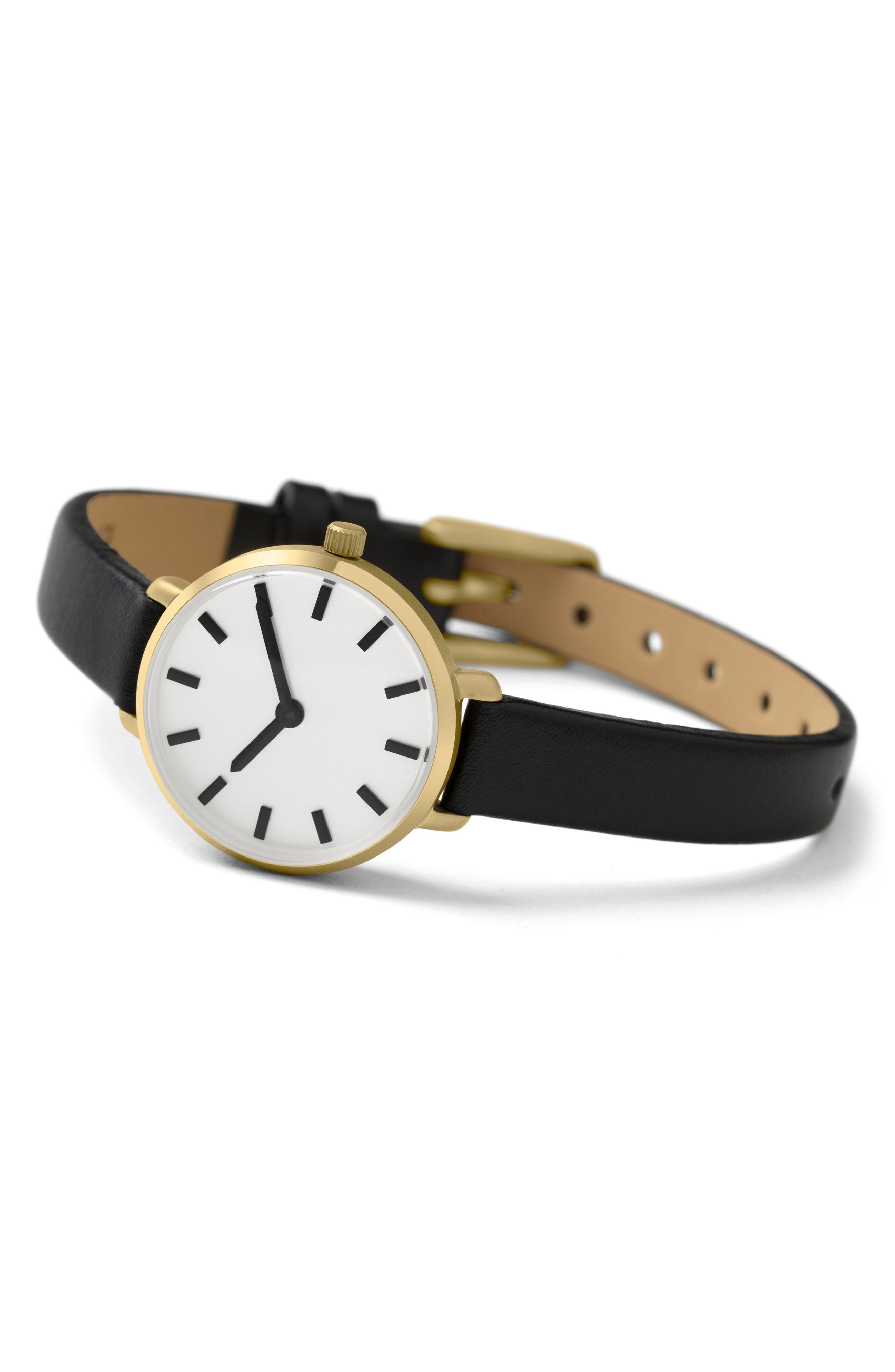 Beverly Round Leather Strap Watch, 26mm,                             Alternate thumbnail 2, color,                             Black/ Gold