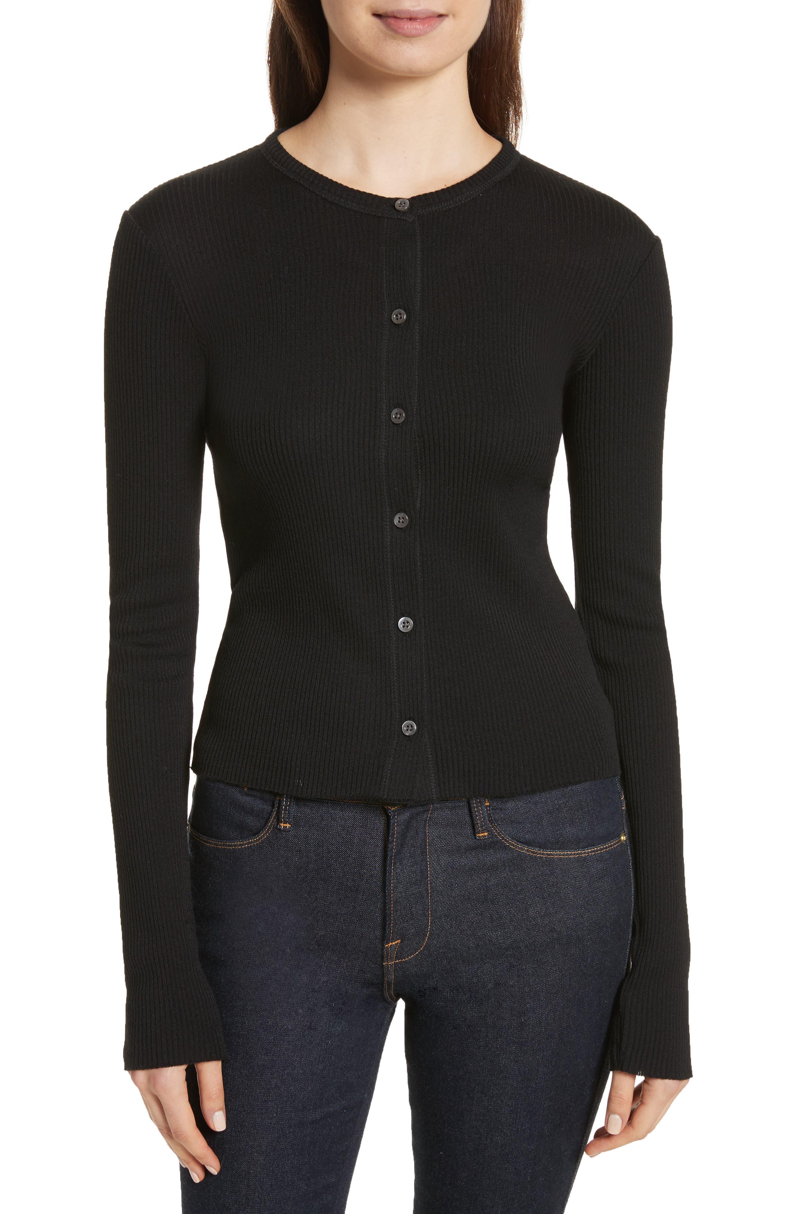 Ribbed Wool Blend Cardigan,                         Main,                         color, Black