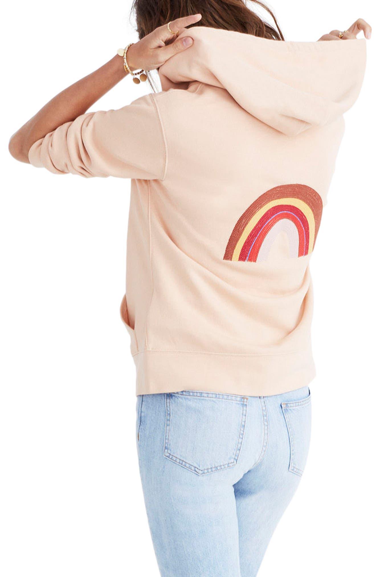 Alternate Image 2  - Madewell Embroidered Rainbow Zip Hoodie