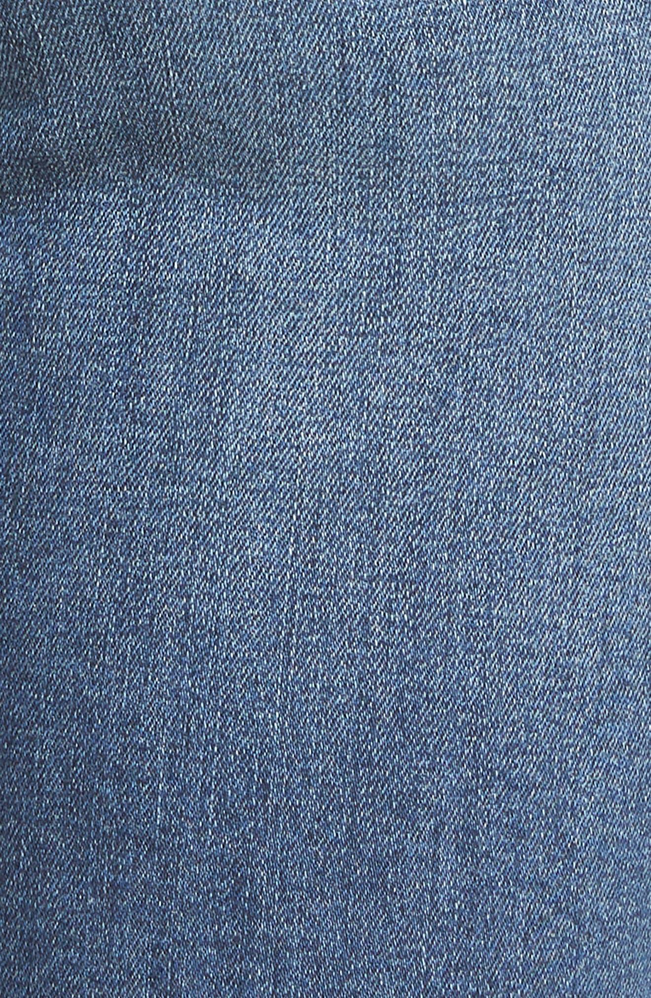 High Waist Step Hem Skinny Jeans,                             Alternate thumbnail 5, color,                             Medium