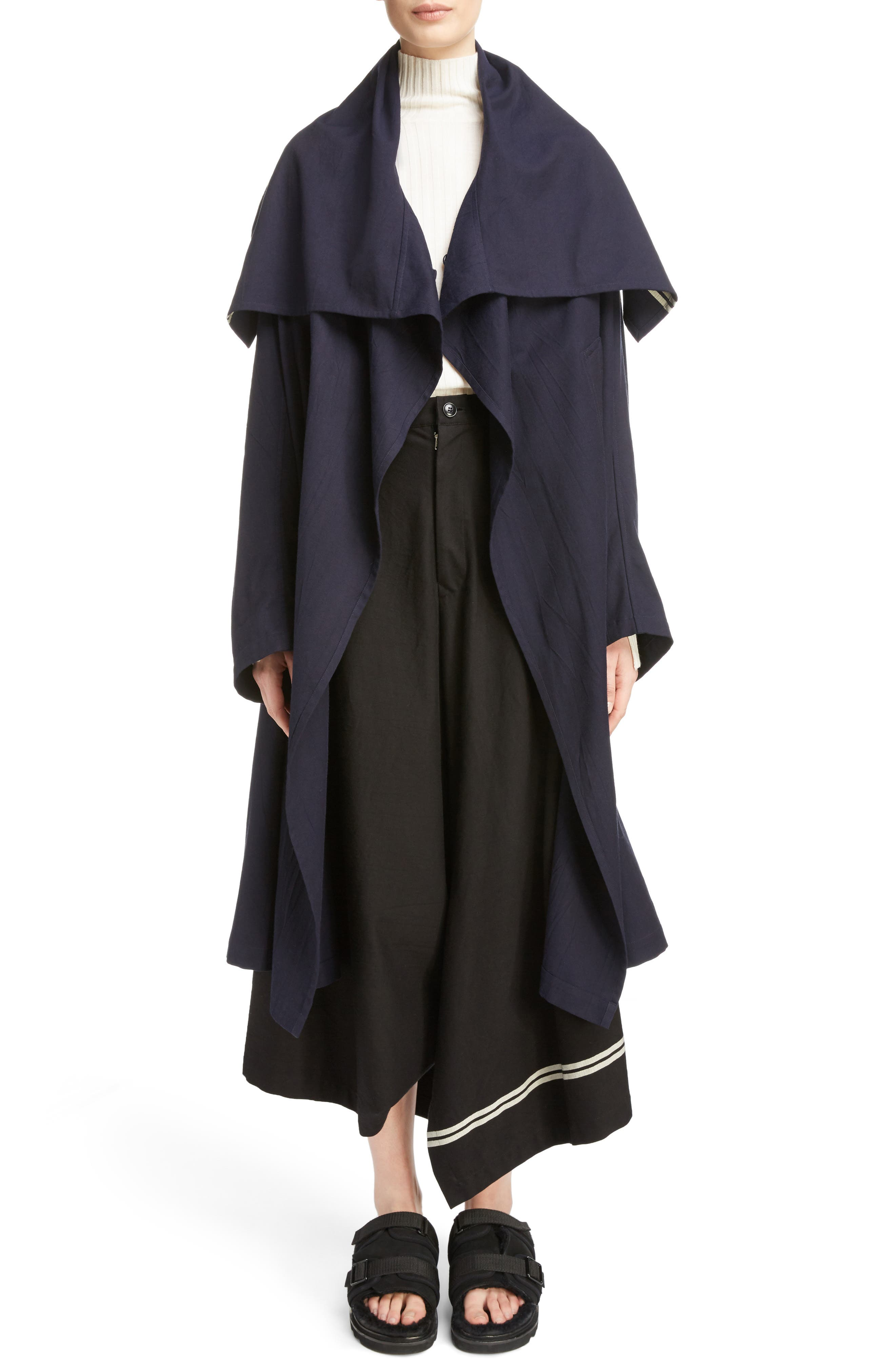 Drape Collar Coat,                         Main,                         color, Navy