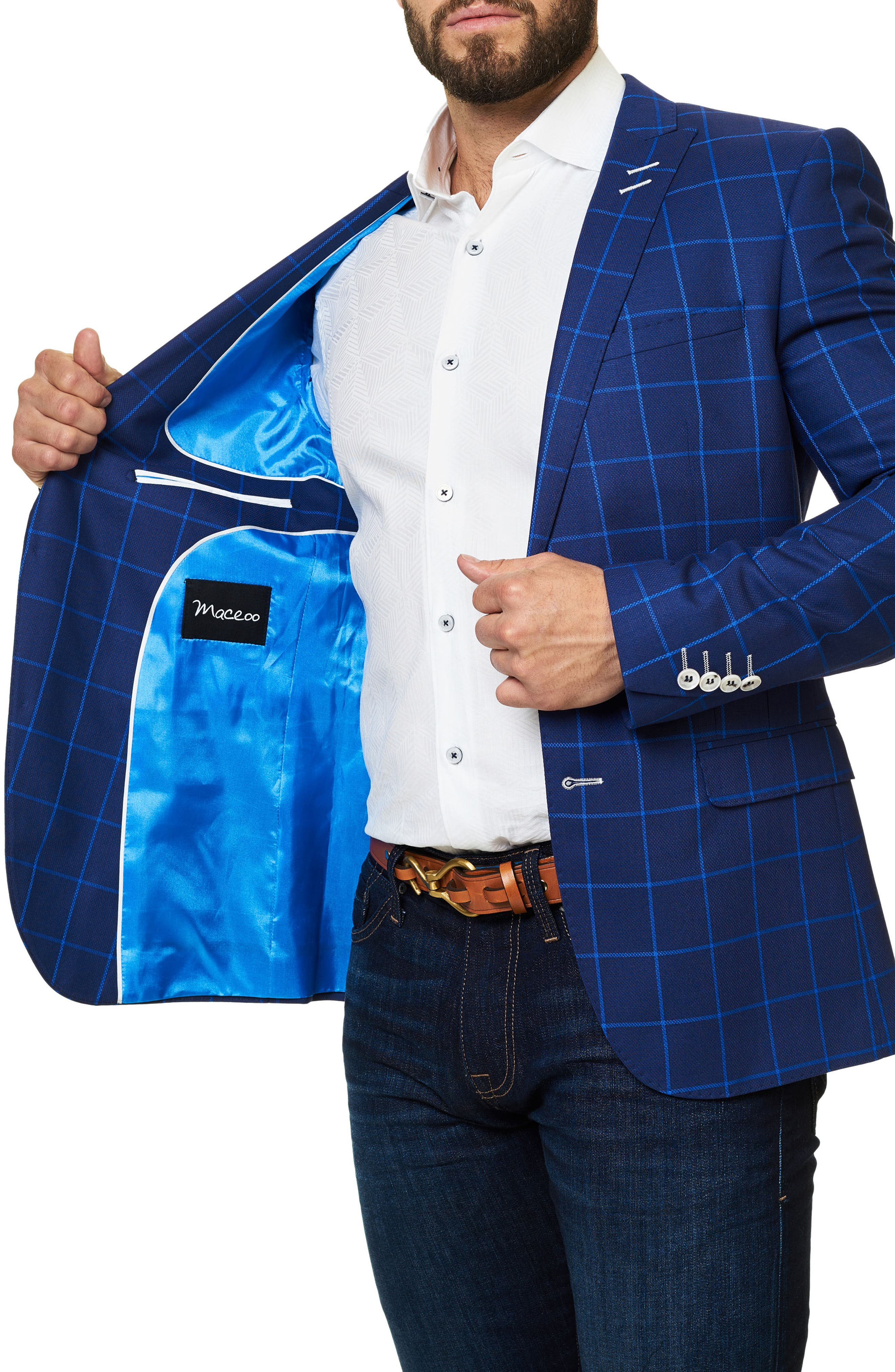 Descarte Windowpane Sport Coat,                             Alternate thumbnail 3, color,                             Medium Blue