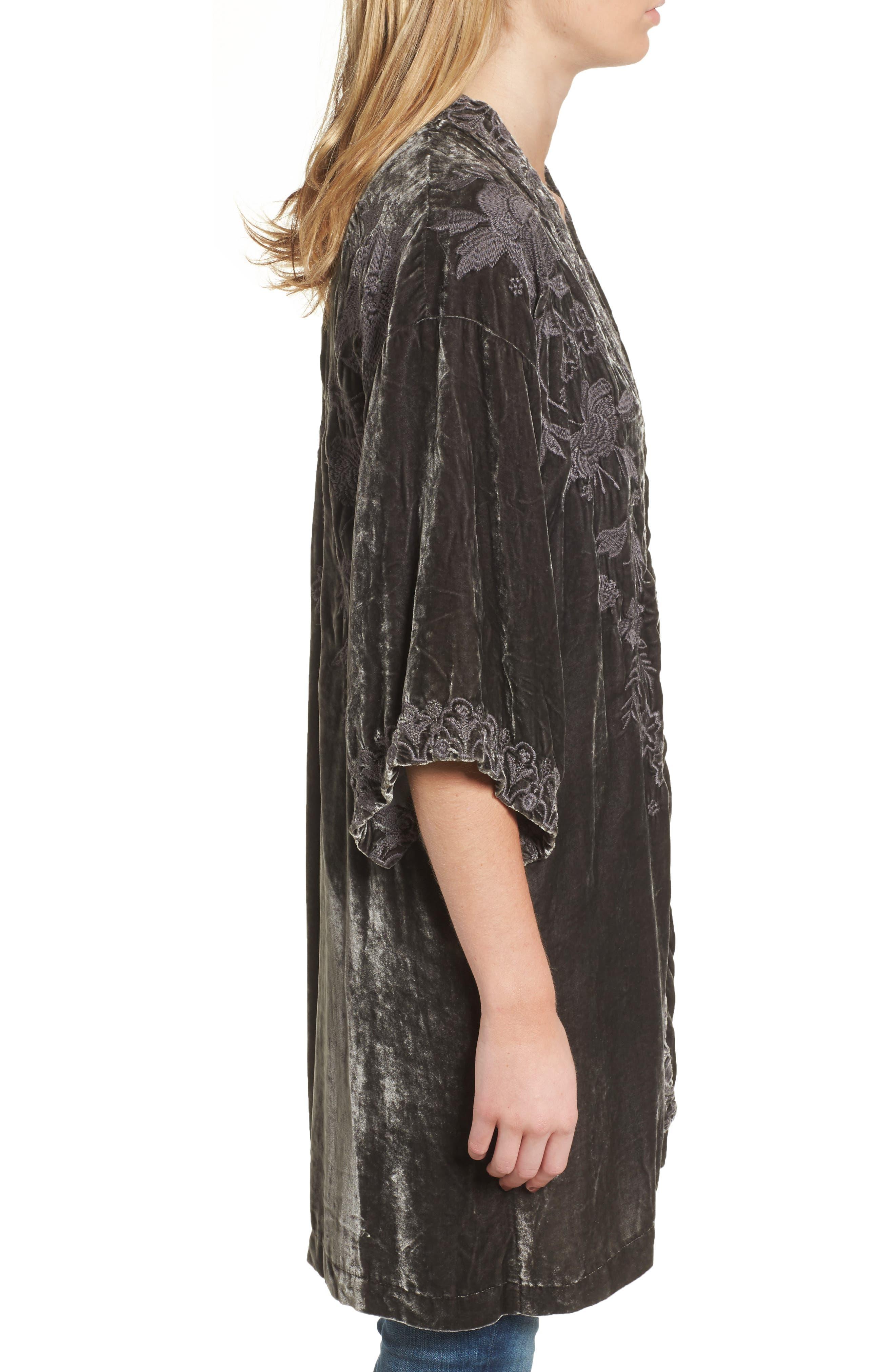Parina Embroidered Velvet Kimono,                             Alternate thumbnail 3, color,                             Steel Grey