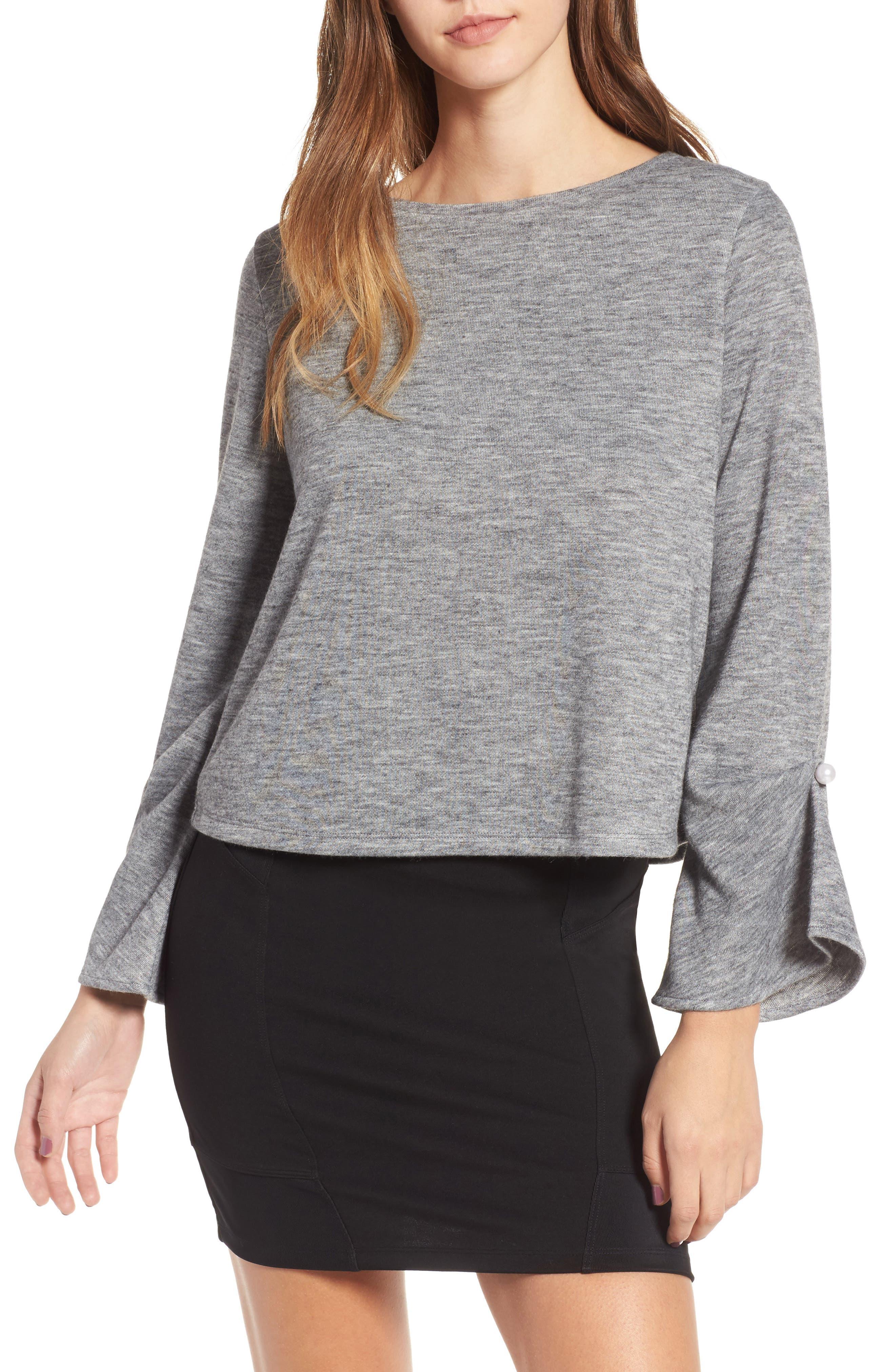 Imitation Pearl Detail Top,                         Main,                         color, Grey Medium Heather