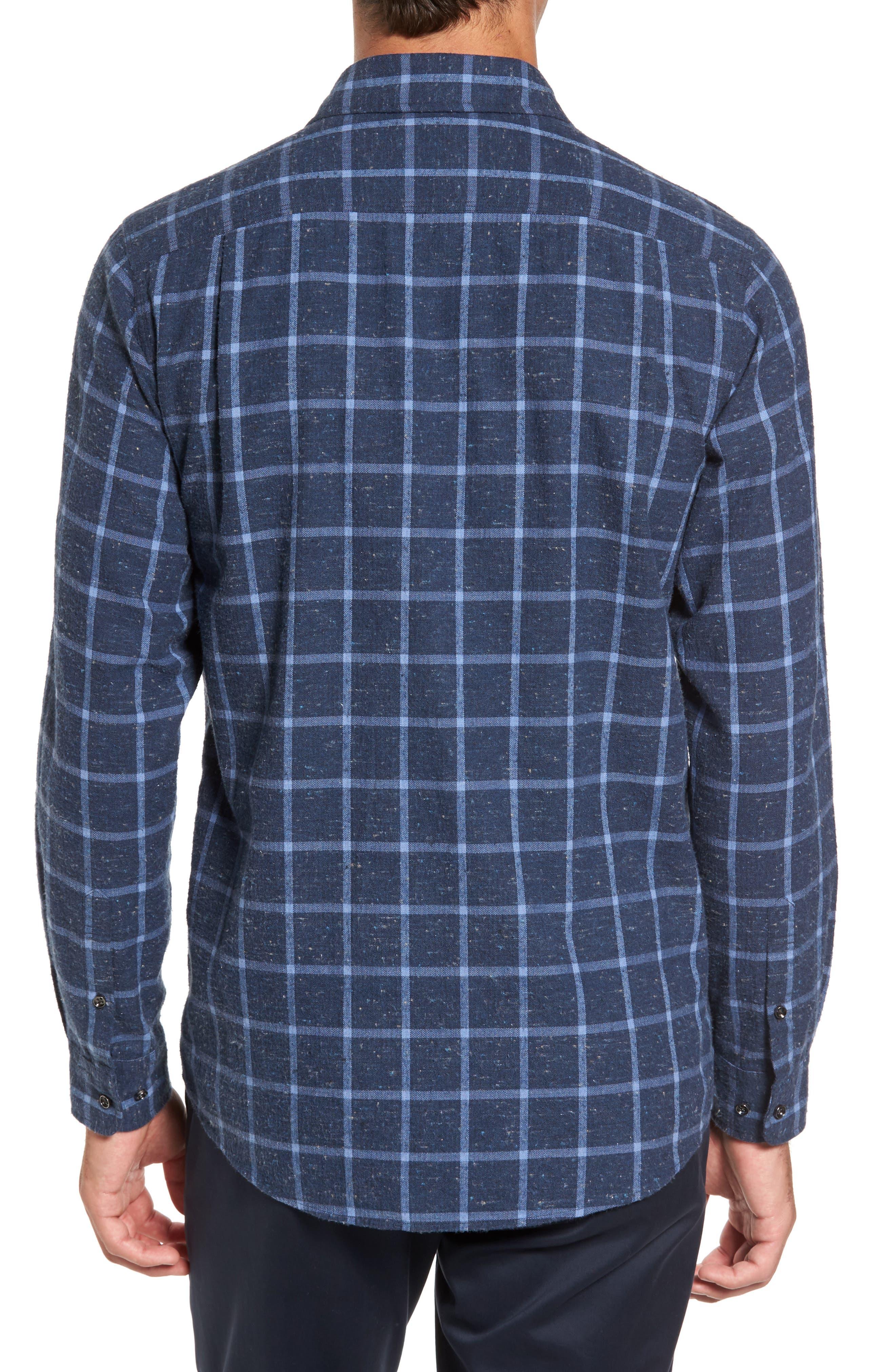 Paringa Sports Fit Windowpane Sport Shirt,                             Alternate thumbnail 2, color,                             Bluestone