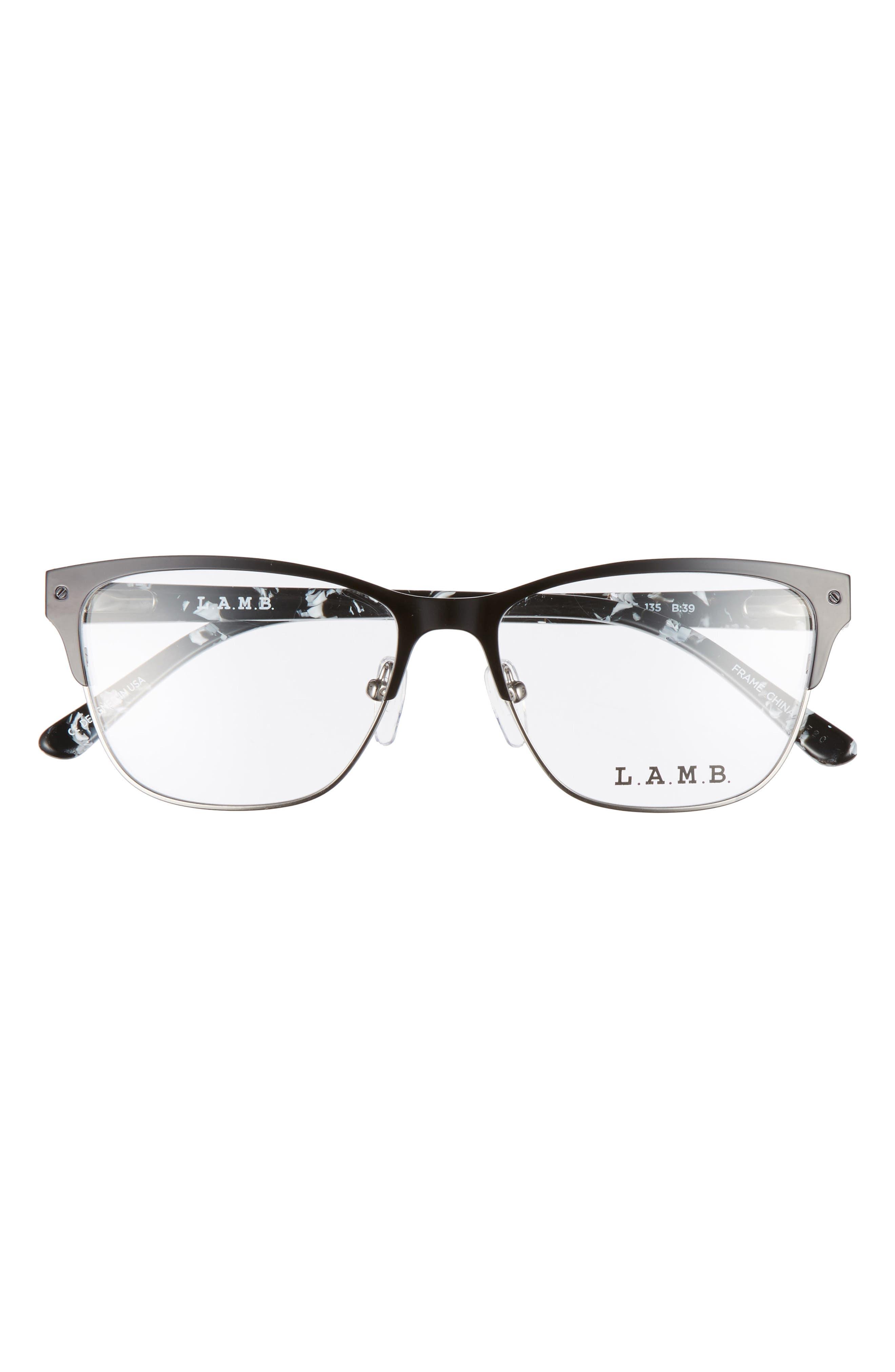 52mm Cat Eye Optical Glasses,                             Alternate thumbnail 3, color,                             Black