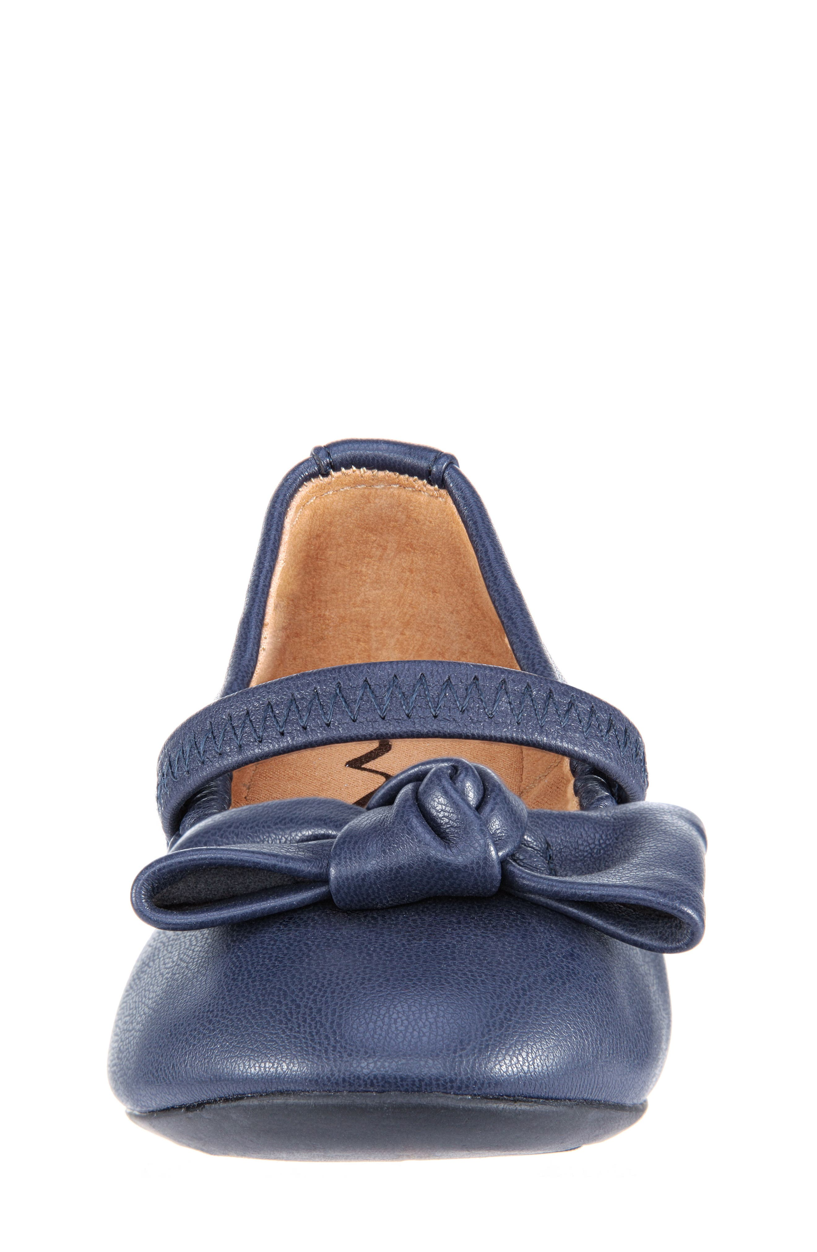 Karla Bow Ballet Flat,                             Alternate thumbnail 4, color,                             Navy Smooth Blue
