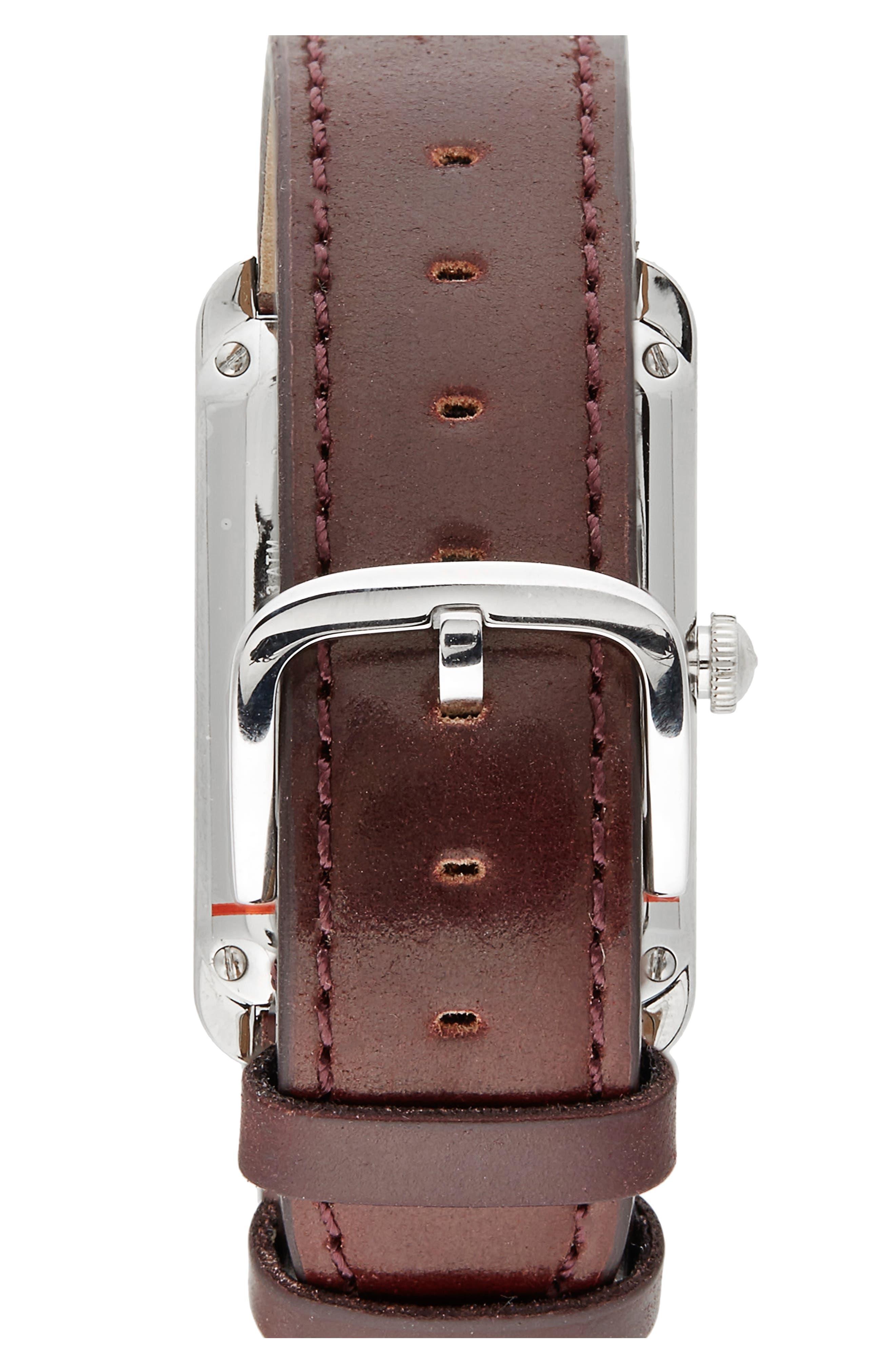 Alternate Image 2  - Shinola The Muldowney Rectangular Leather Strap Watch, 24mm x 35mm