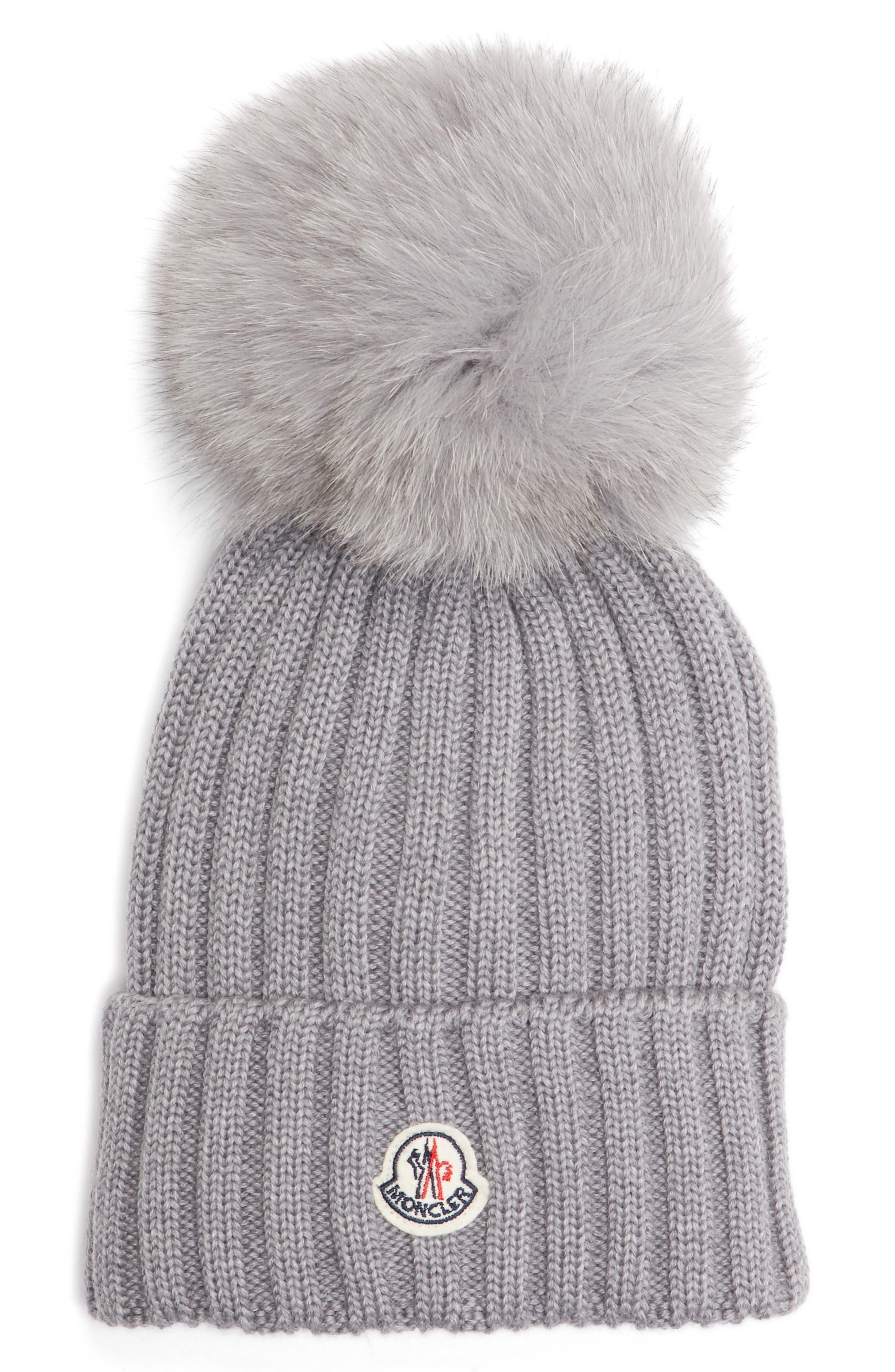Main Image - Moncler Genuine Fox Fur Pom Ribbed Wool Beanie