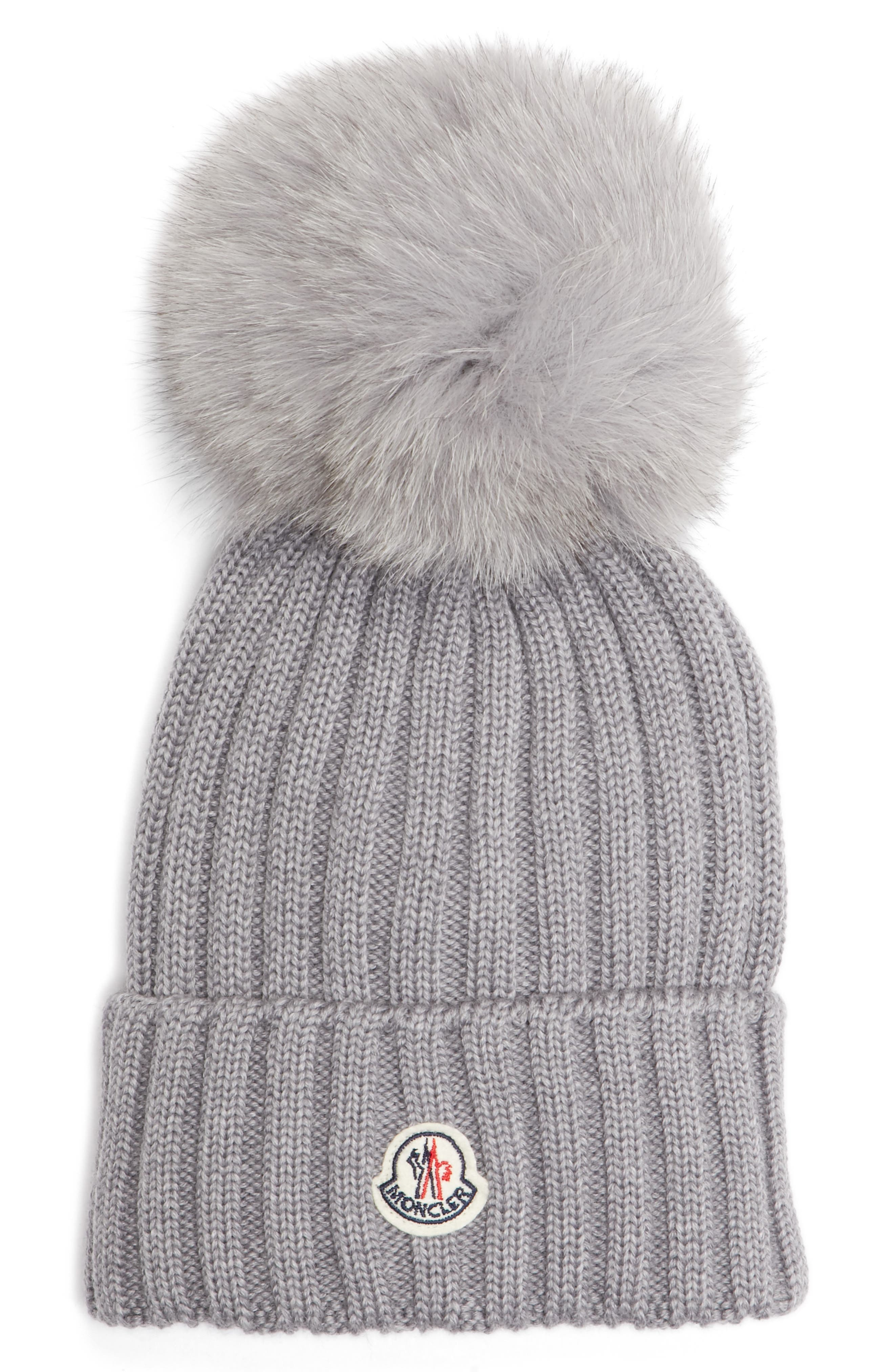 Genuine Fox Fur Pom Ribbed Wool Beanie,                         Main,                         color, Grey