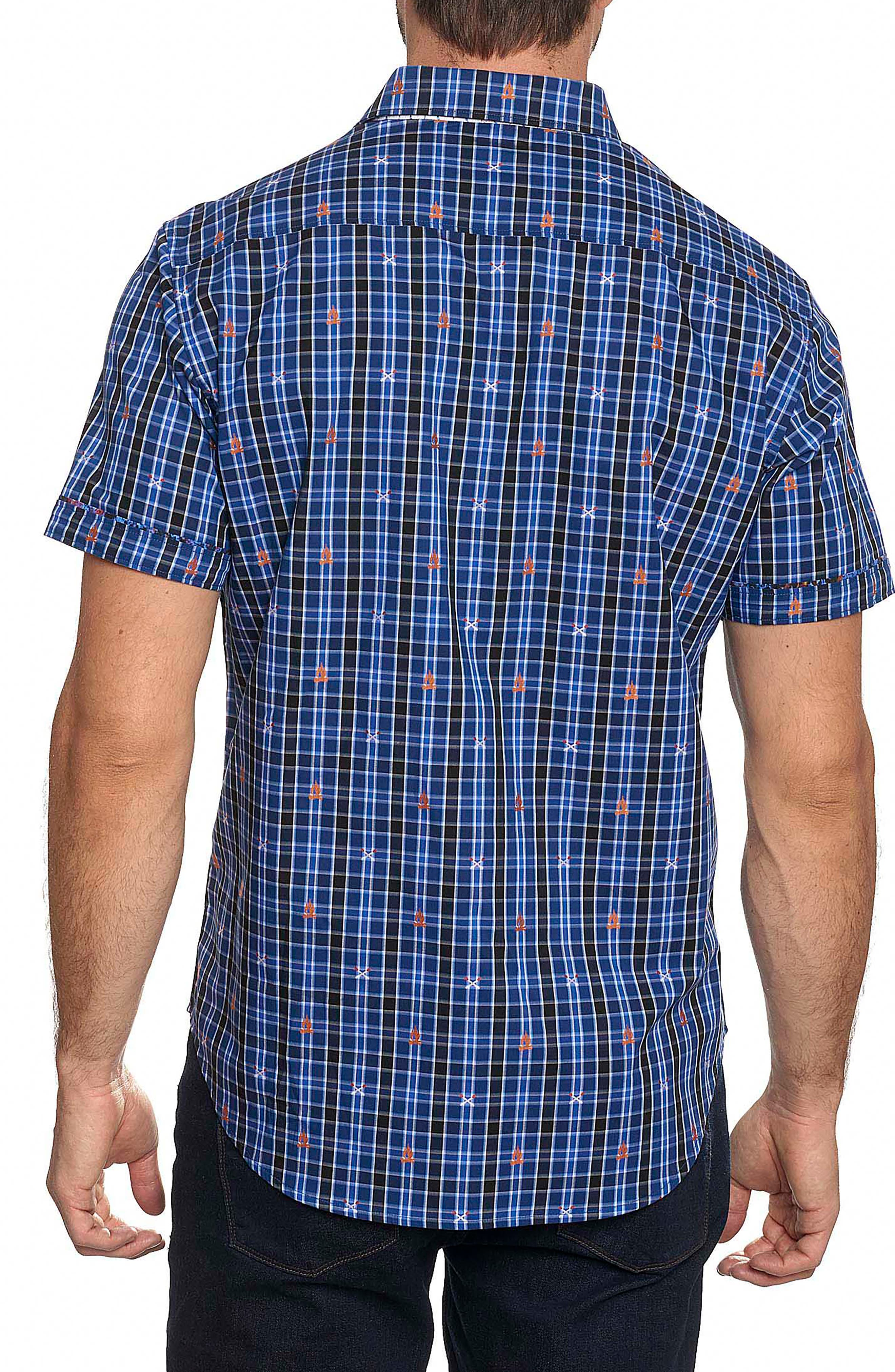 Campfire Classic Fit Embroidered Check Sport Shirt,                             Alternate thumbnail 2, color,                             Blue