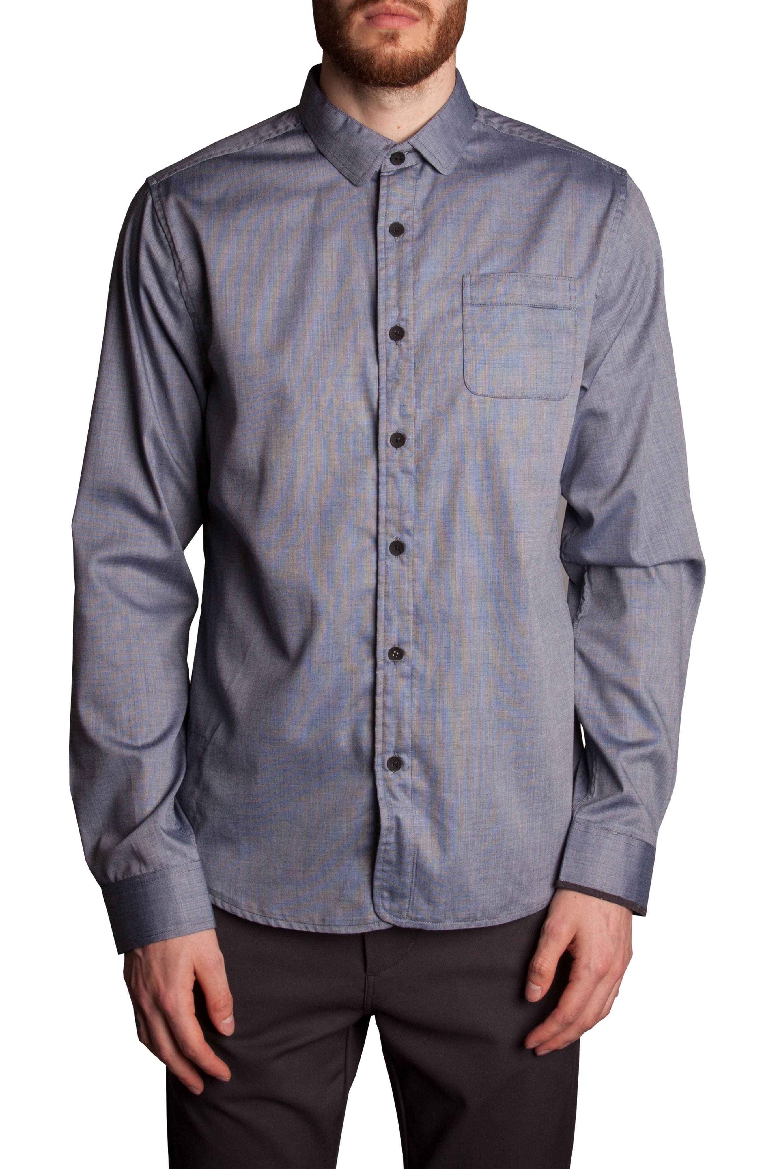 Pinpoint Sport Shirt,                         Main,                         color, Navy