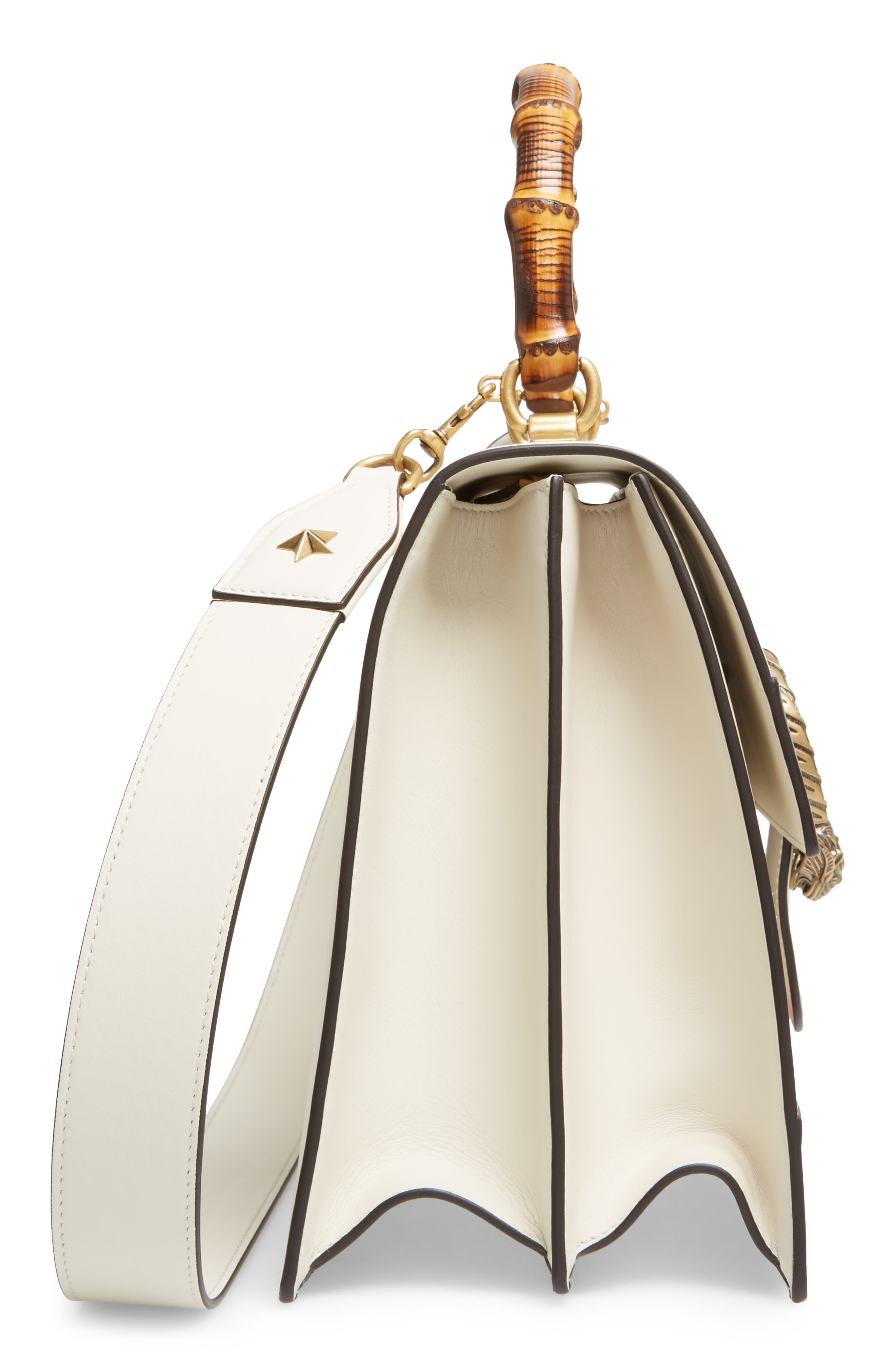 Large Dionysus Top Handle Leather Shoulder Bag,                             Alternate thumbnail 5, color,                             Mystic White/ Blue/ Red