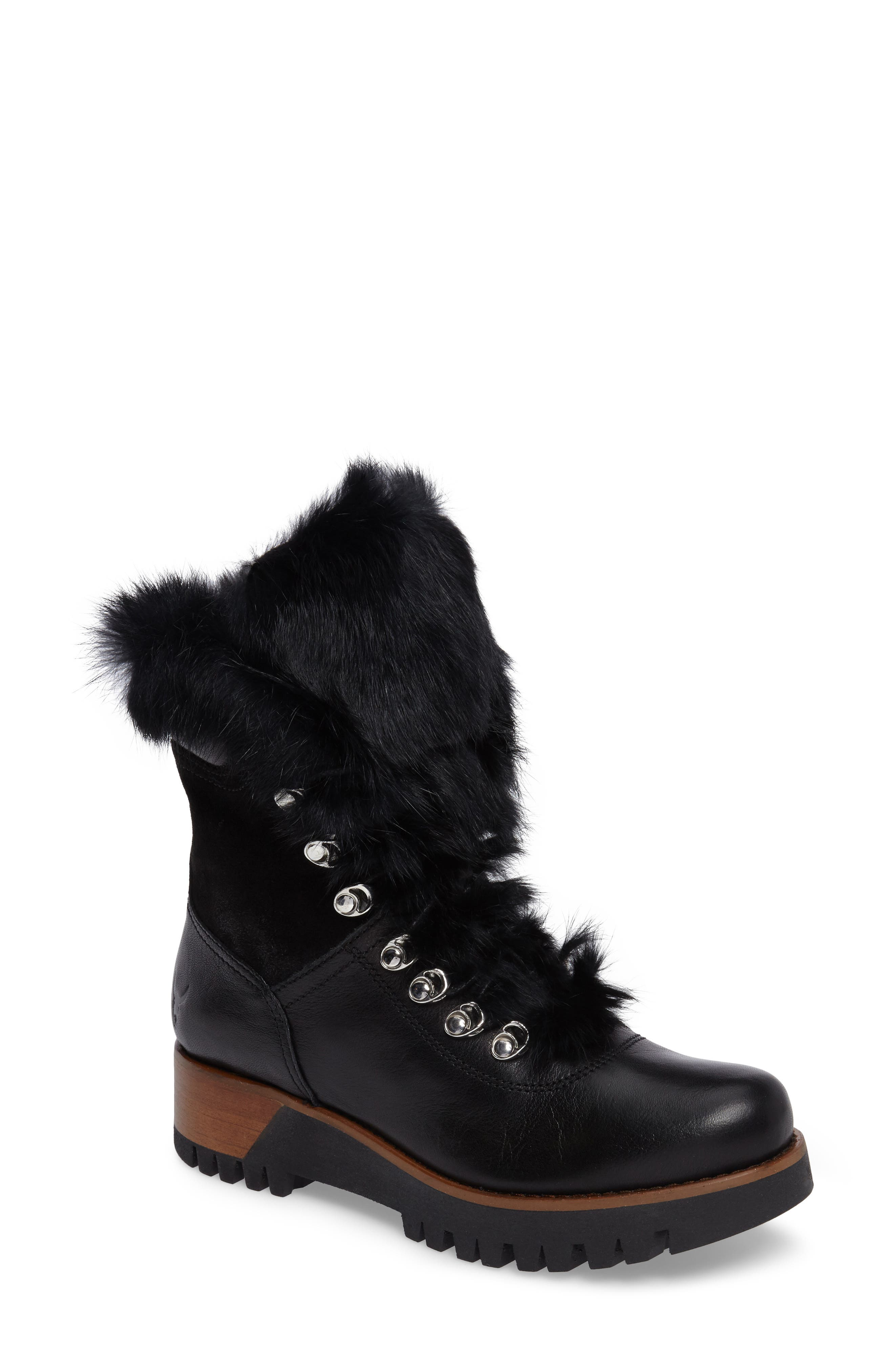 Tsar Genuine Rabbit Fur Boot,                         Main,                         color, Black Leather