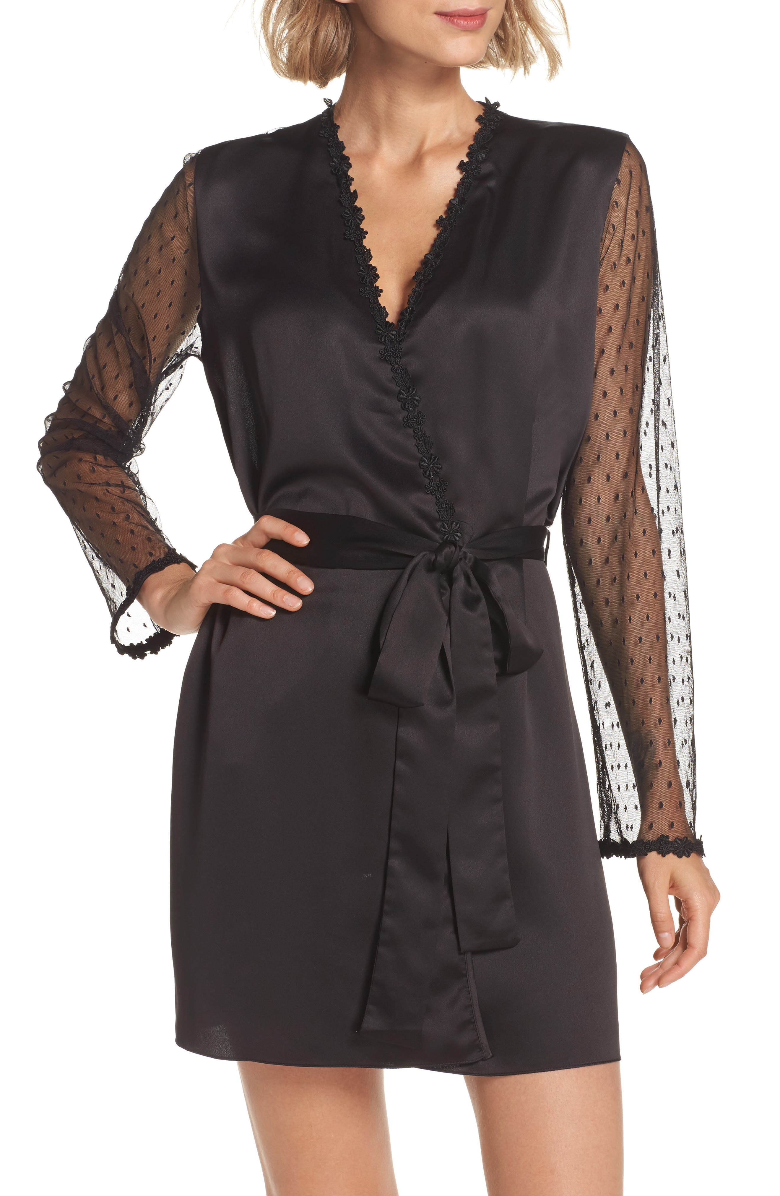 FLORA NIKROOZ Showstopper Charmeuse Robe With Lace in Black