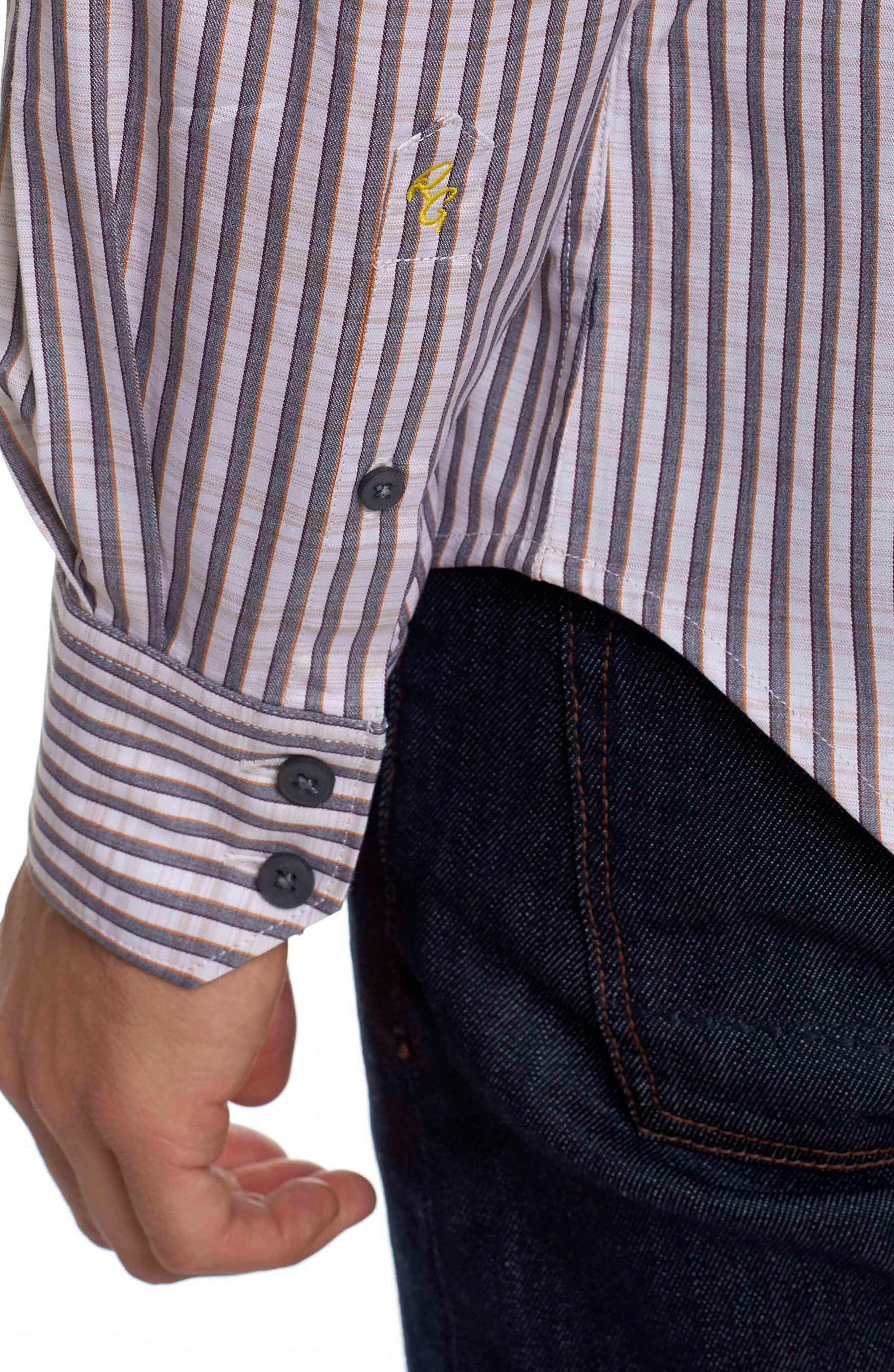 Marion Classic Fit Stripe Sport Shirt,                             Alternate thumbnail 5, color,                             Cream