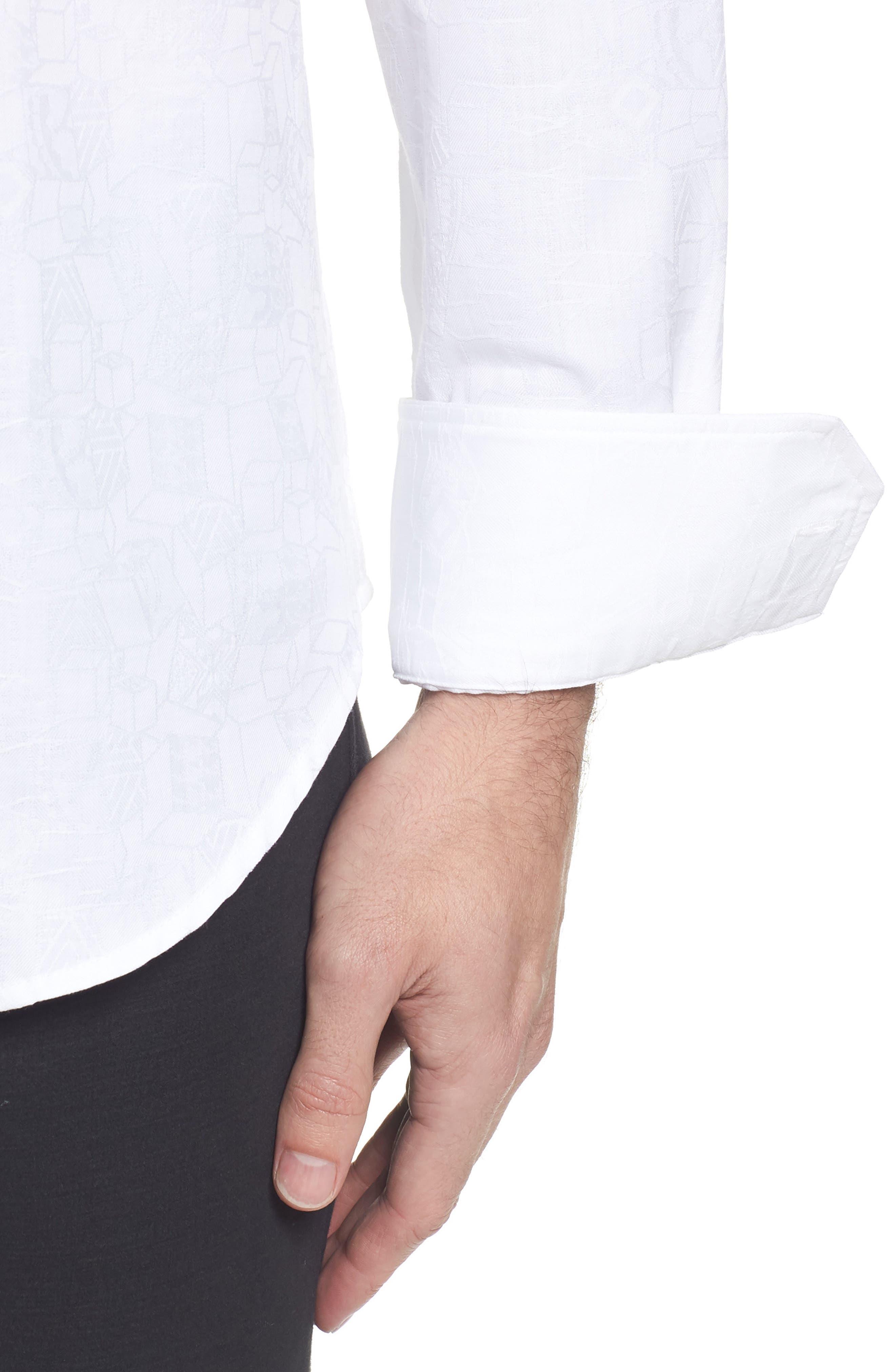 Classic Fit Jacquard Sport Shirt,                             Alternate thumbnail 4, color,                             White