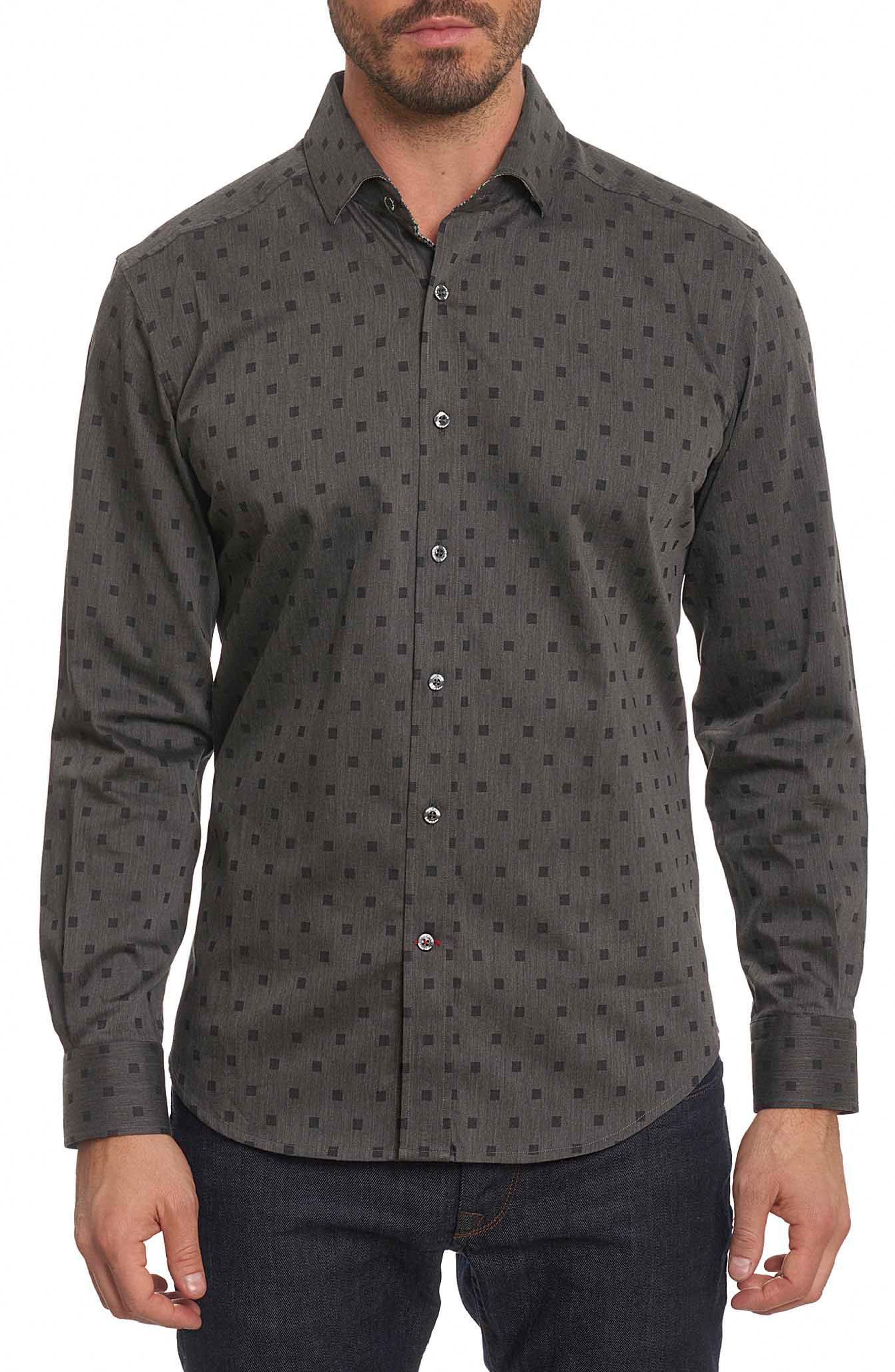 Gabe Tailored Fit Sport Shirt,                         Main,                         color, Black